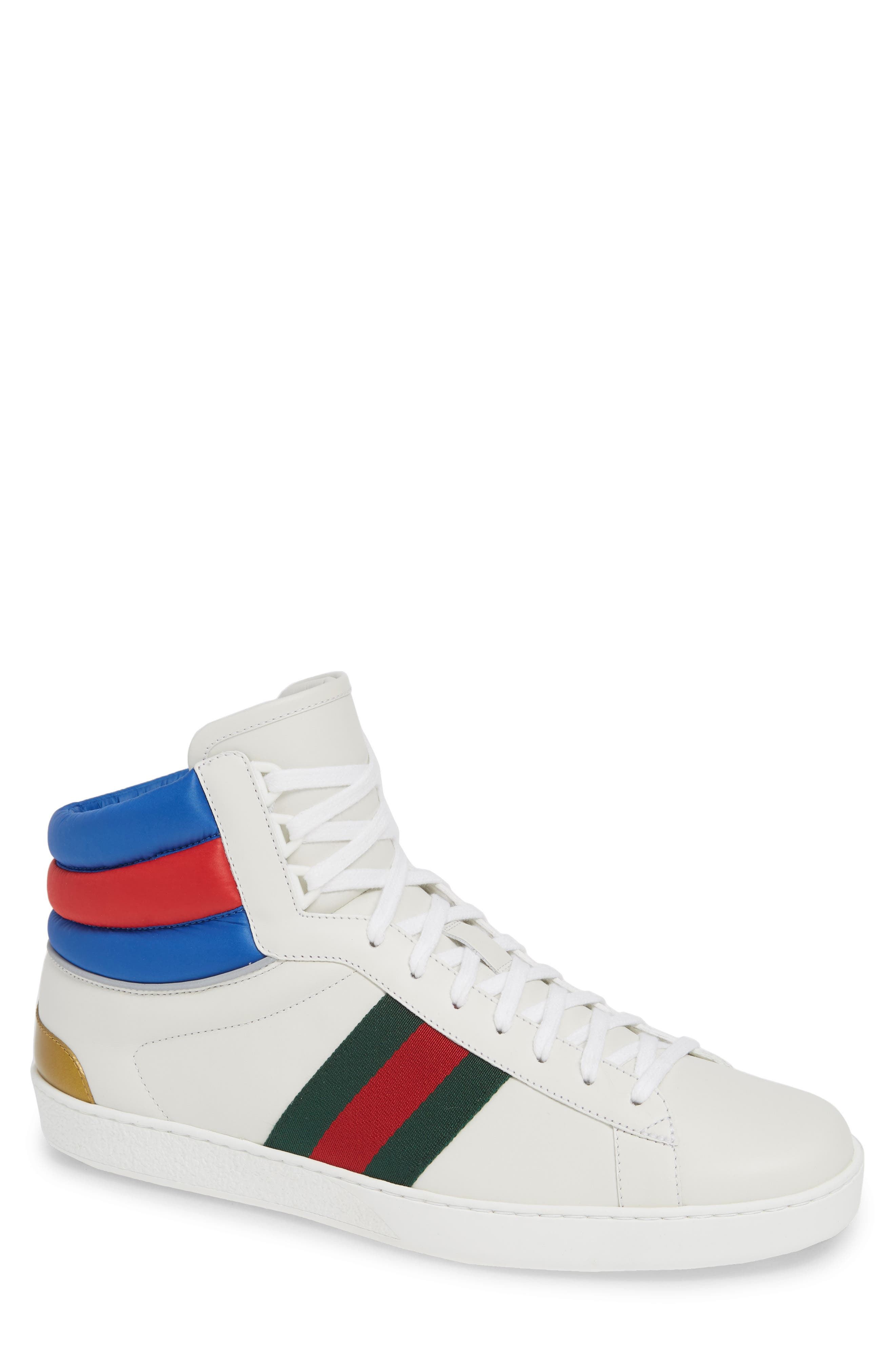 New Ace Stripe High Top Sneaker, Main, color, BIANCO WHITE
