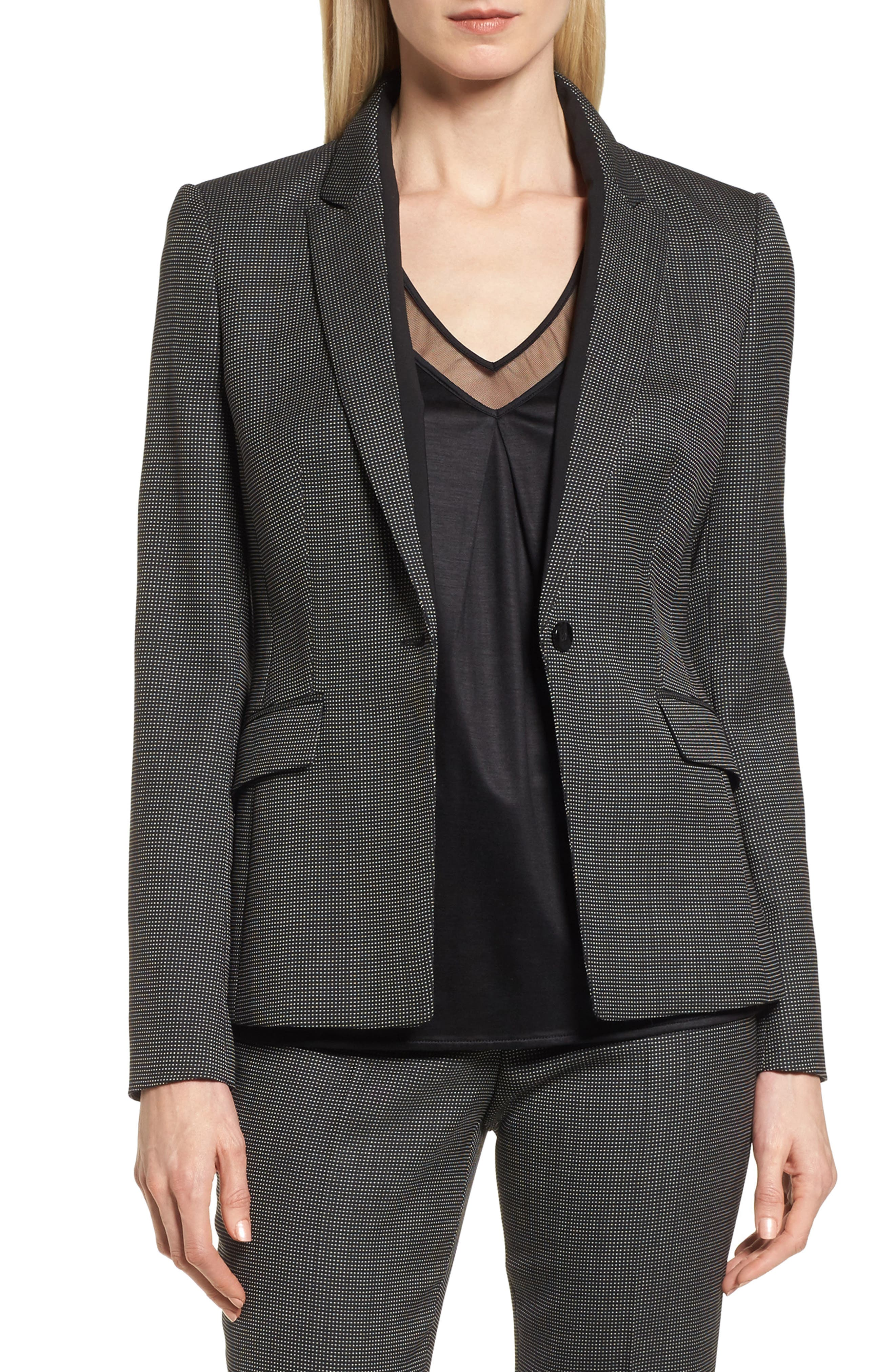 Jeresa Check Stretch Wool Suit Jacket,                         Main,                         color, 006