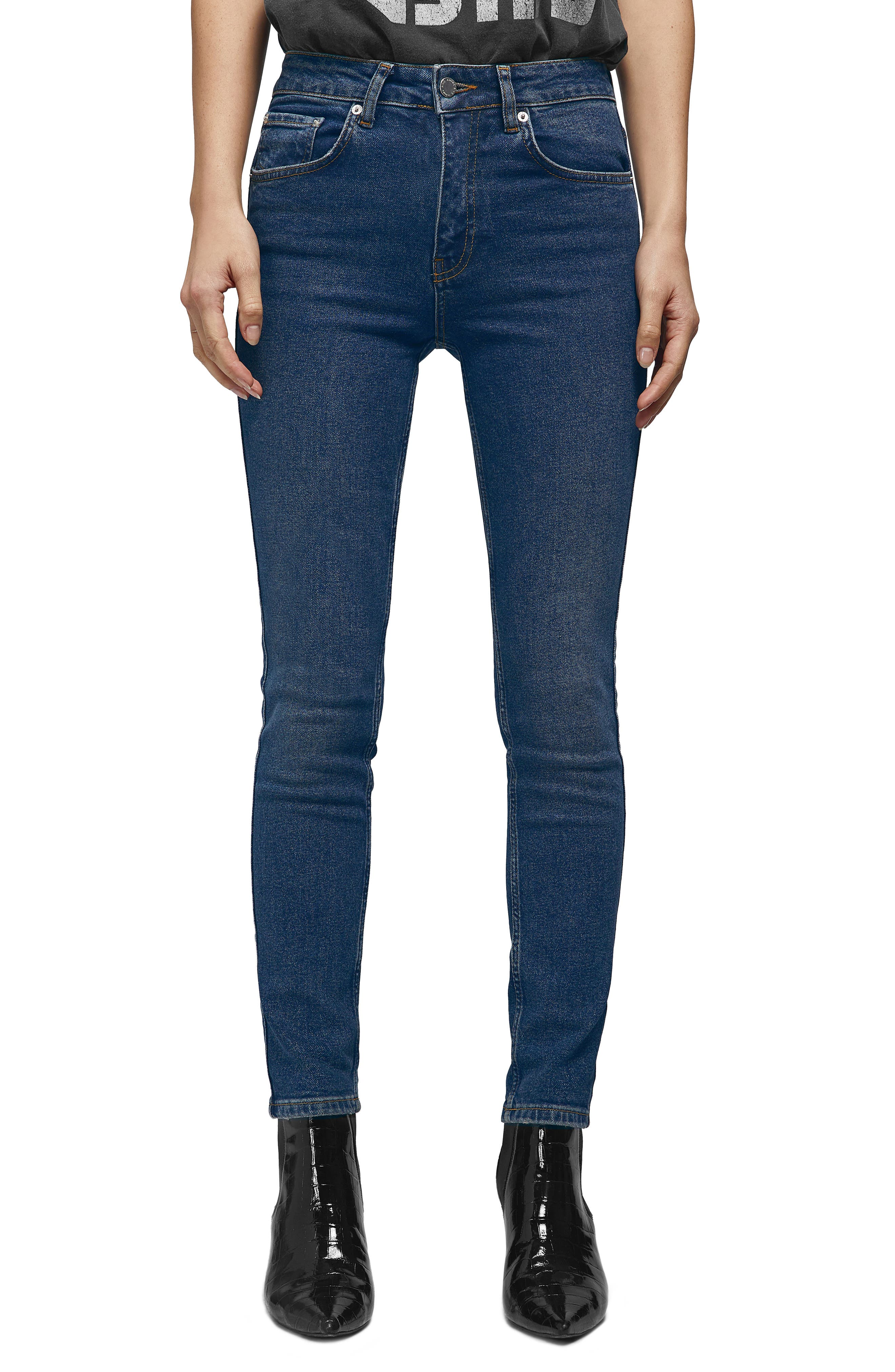 ANINE BING High Waist Skinny Jeans, Main, color, NAVY