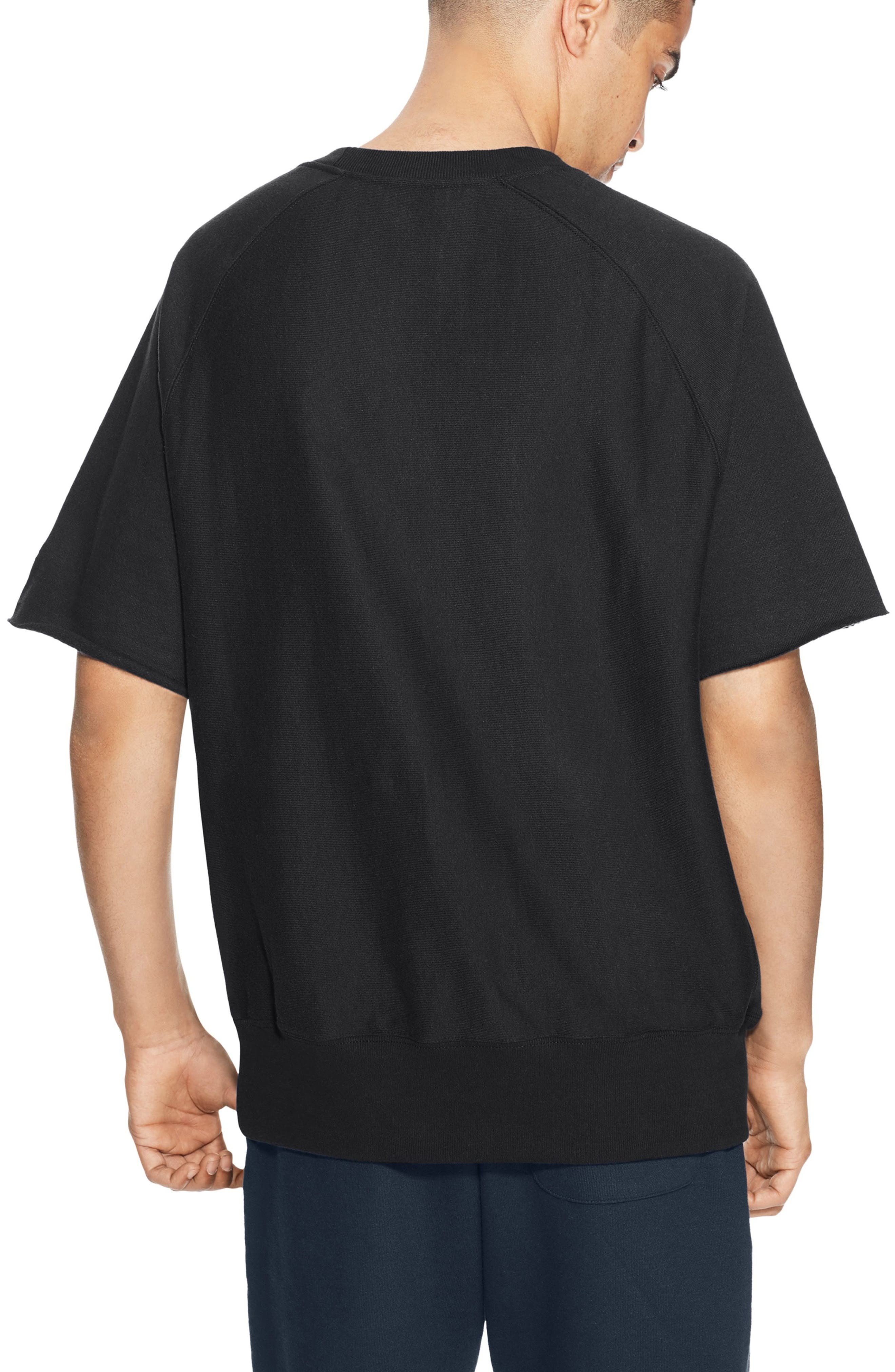 CHAMPION,                             Reverse Weave Short Sleeve Sweatshirt,                             Alternate thumbnail 2, color,                             001