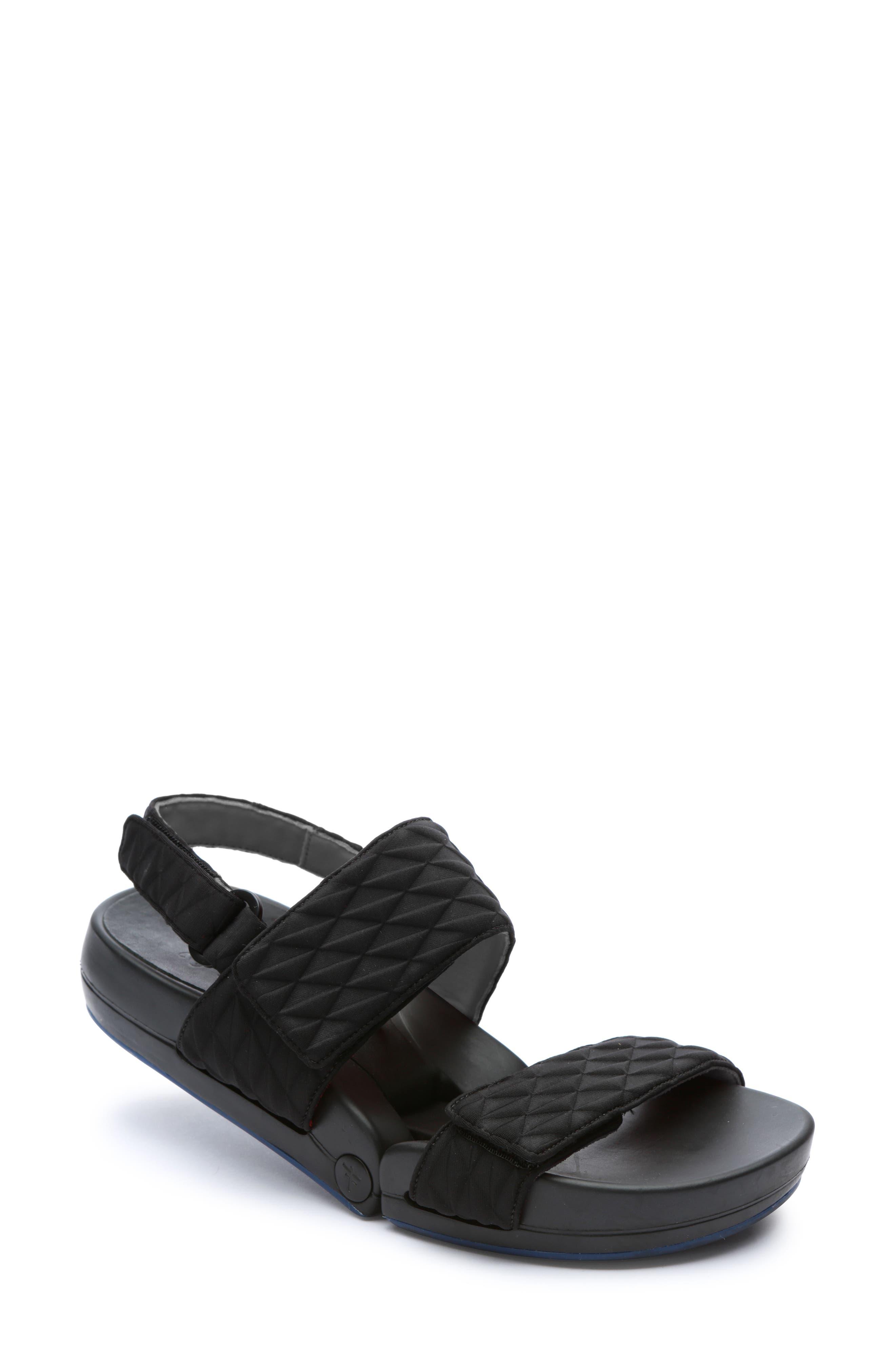 Figulous Diamond Embossed Sandal,                             Main thumbnail 1, color,                             BLACK DIAMOND FABRIC