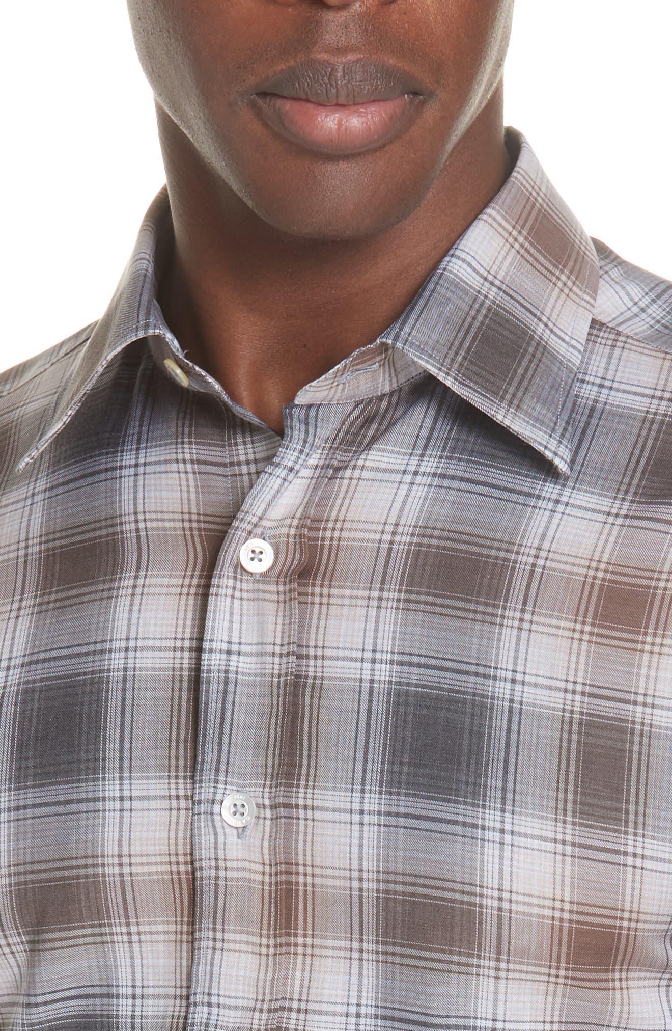 Regular Fit Plaid Dress Shirt,                             Alternate thumbnail 2, color,                             BROWN