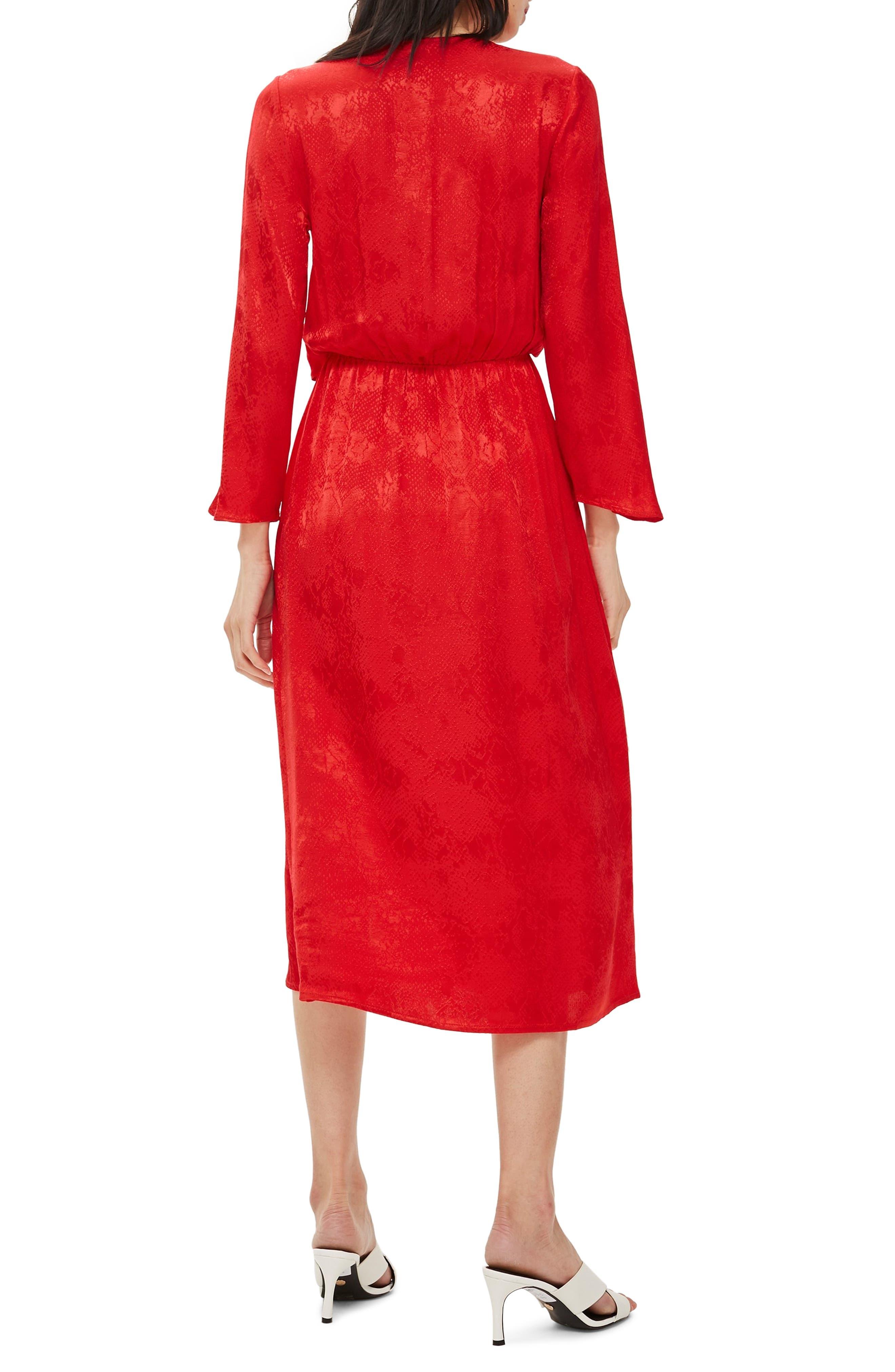 Snake Effect Knot Midi Dress,                             Alternate thumbnail 2, color,                             RED