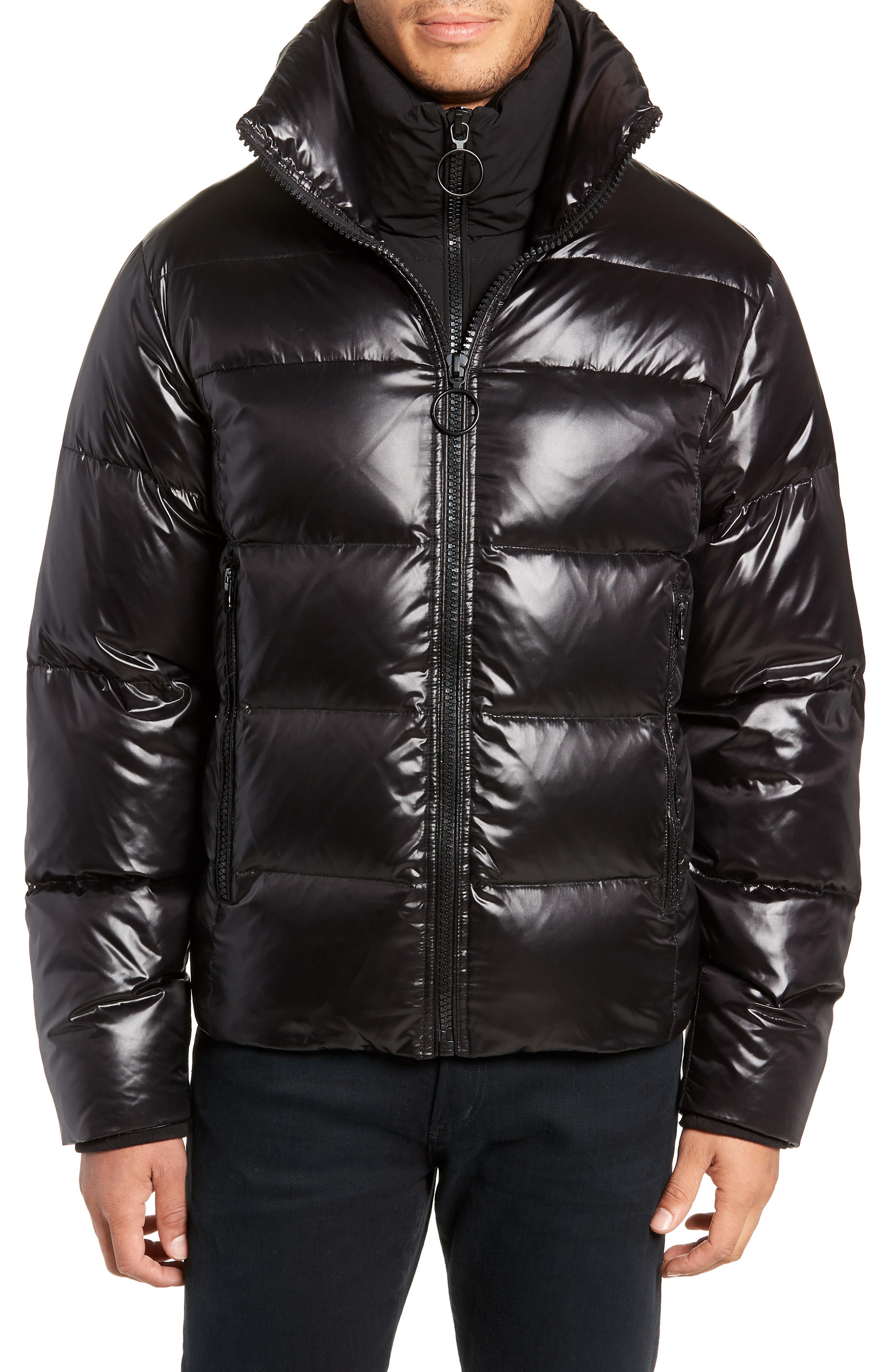 Logan Water Repellent Down & Feather Fill Puffer Jacket,                             Alternate thumbnail 4, color,                             BLACK