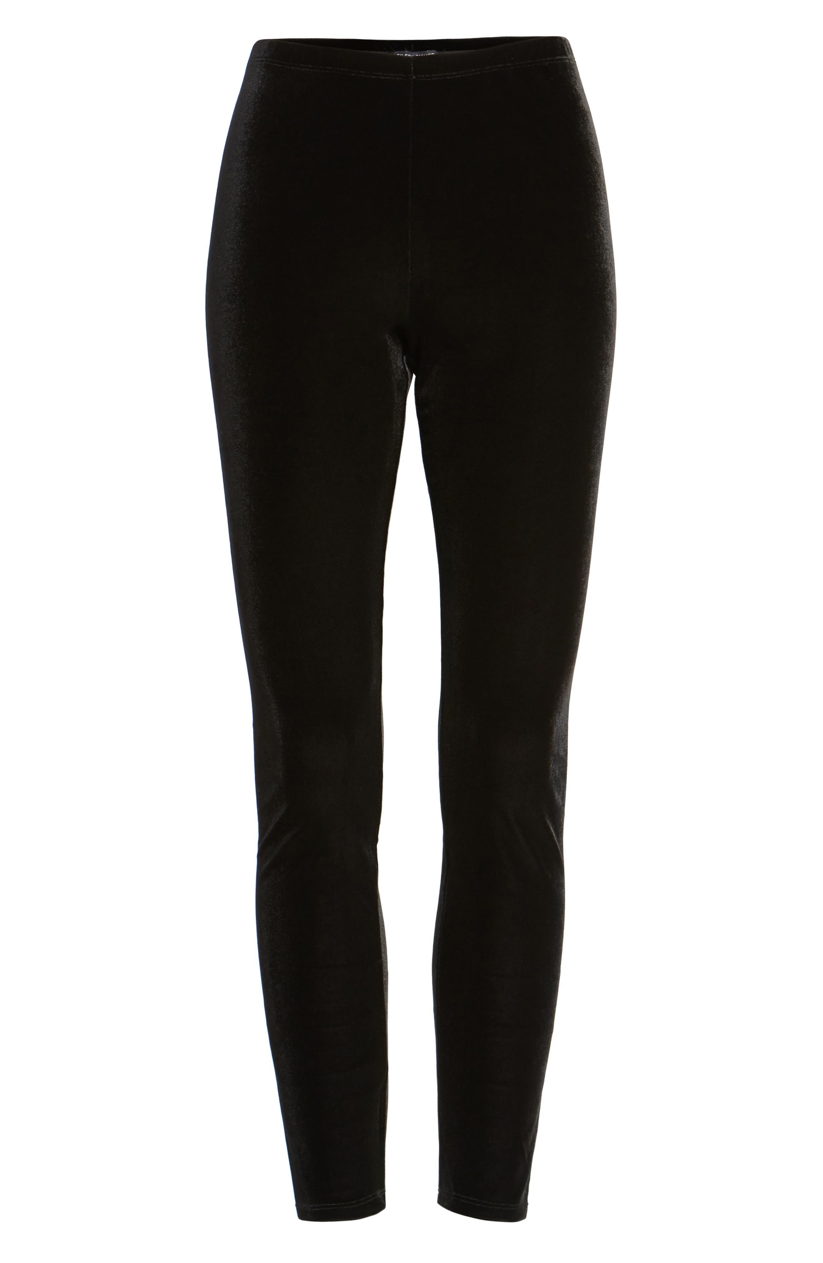 Eileen Fisher Stretch Velvet Leggings, Black