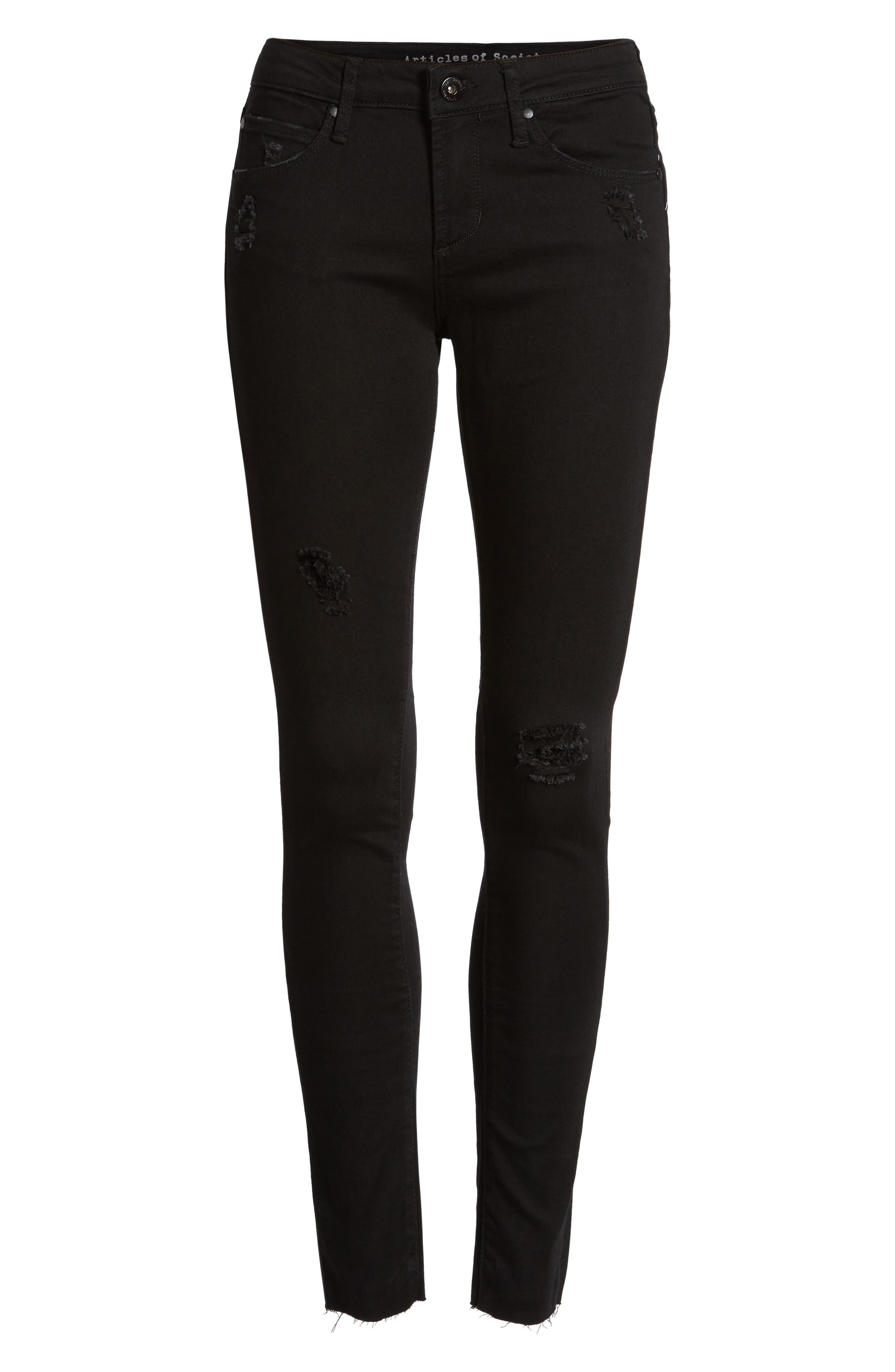 Sarah Skinny Jeans,                             Alternate thumbnail 7, color,                             001
