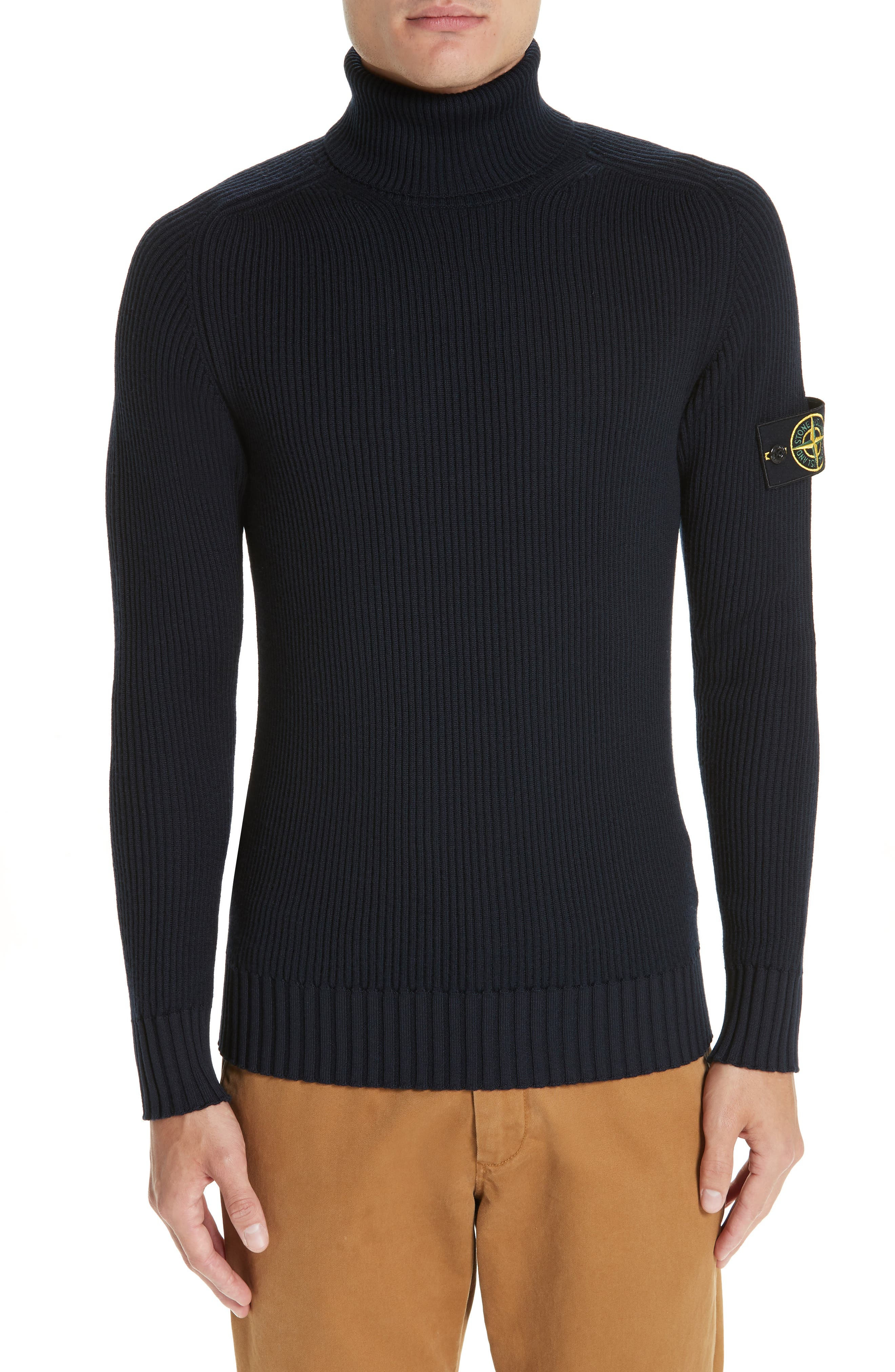 Men's Stone Island Ribbed Wool Turtleneck Sweater, Size Small - Blue