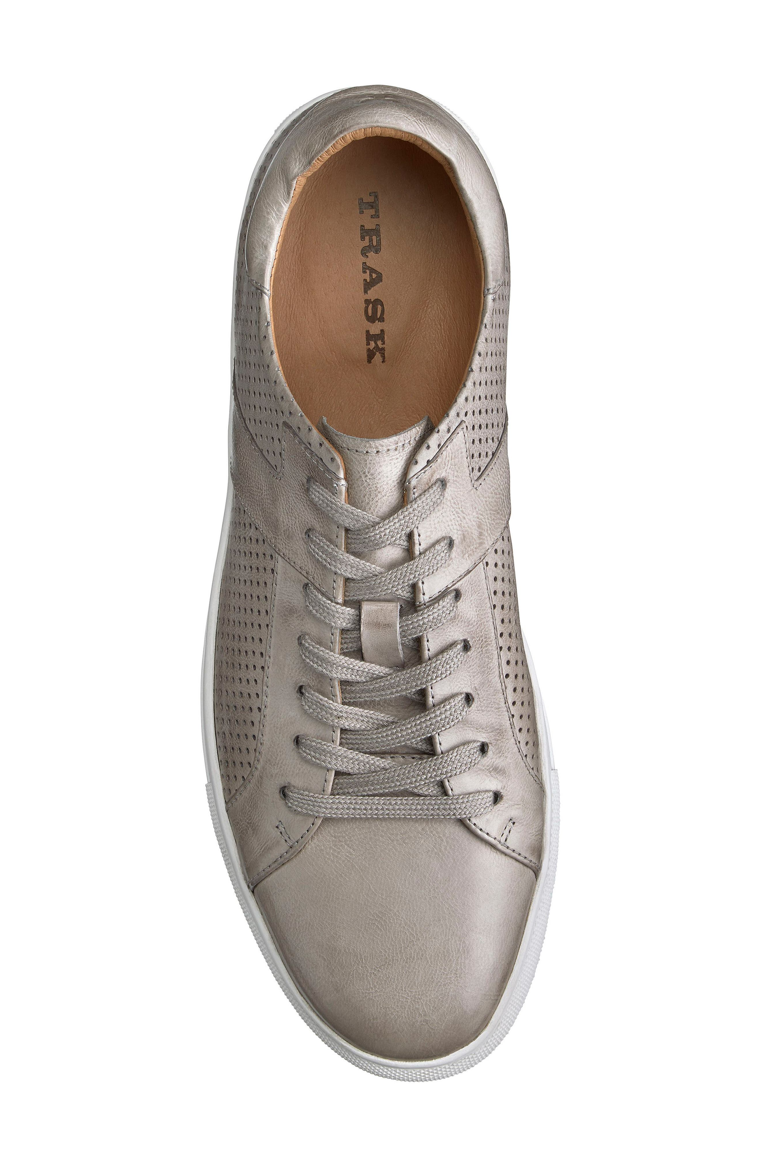 TRASK,                             Aaron Sneaker,                             Alternate thumbnail 5, color,                             LIGHT GREY LEATHER
