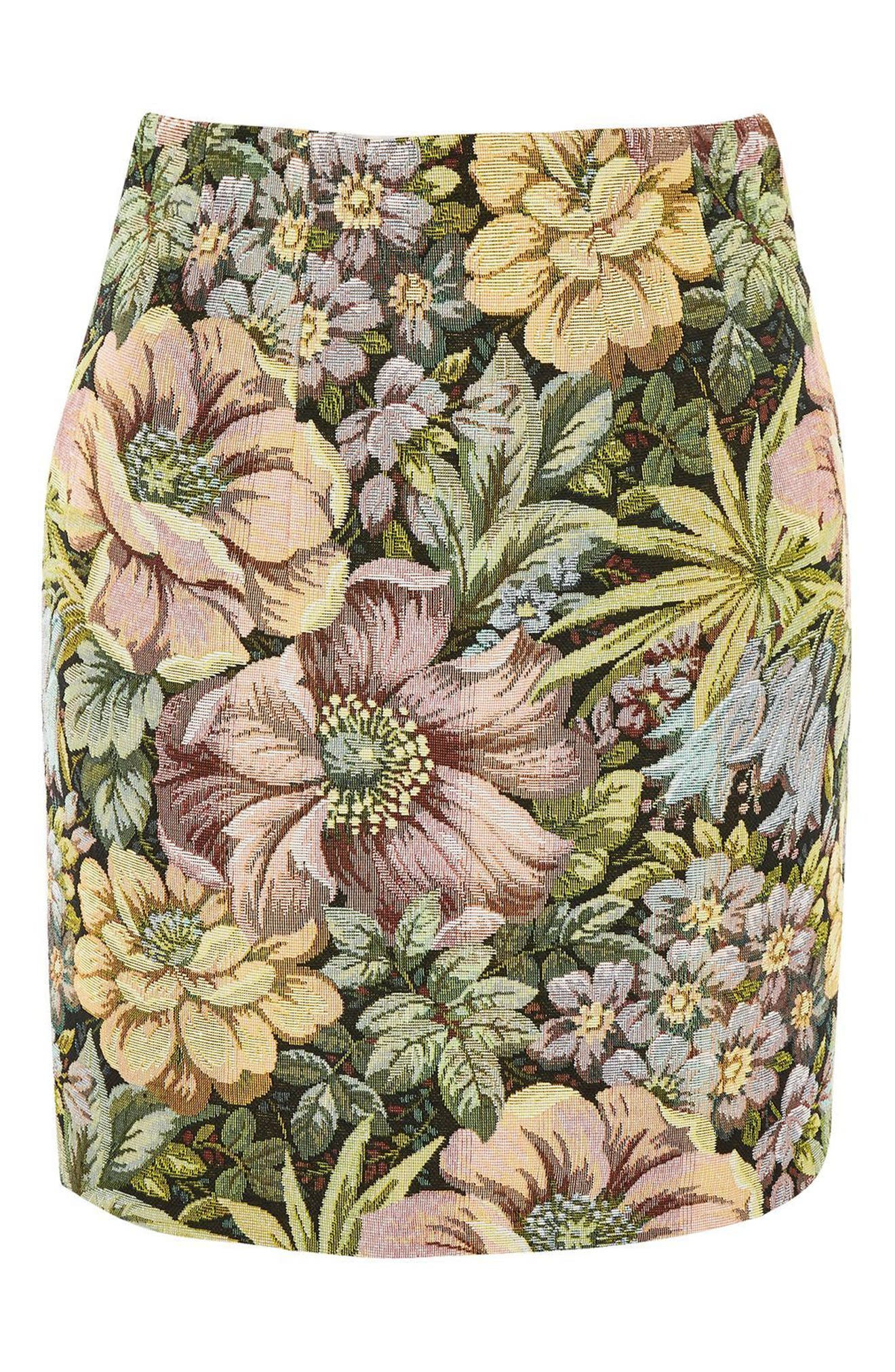 High Waist Tapestry Miniskirt,                             Alternate thumbnail 4, color,
