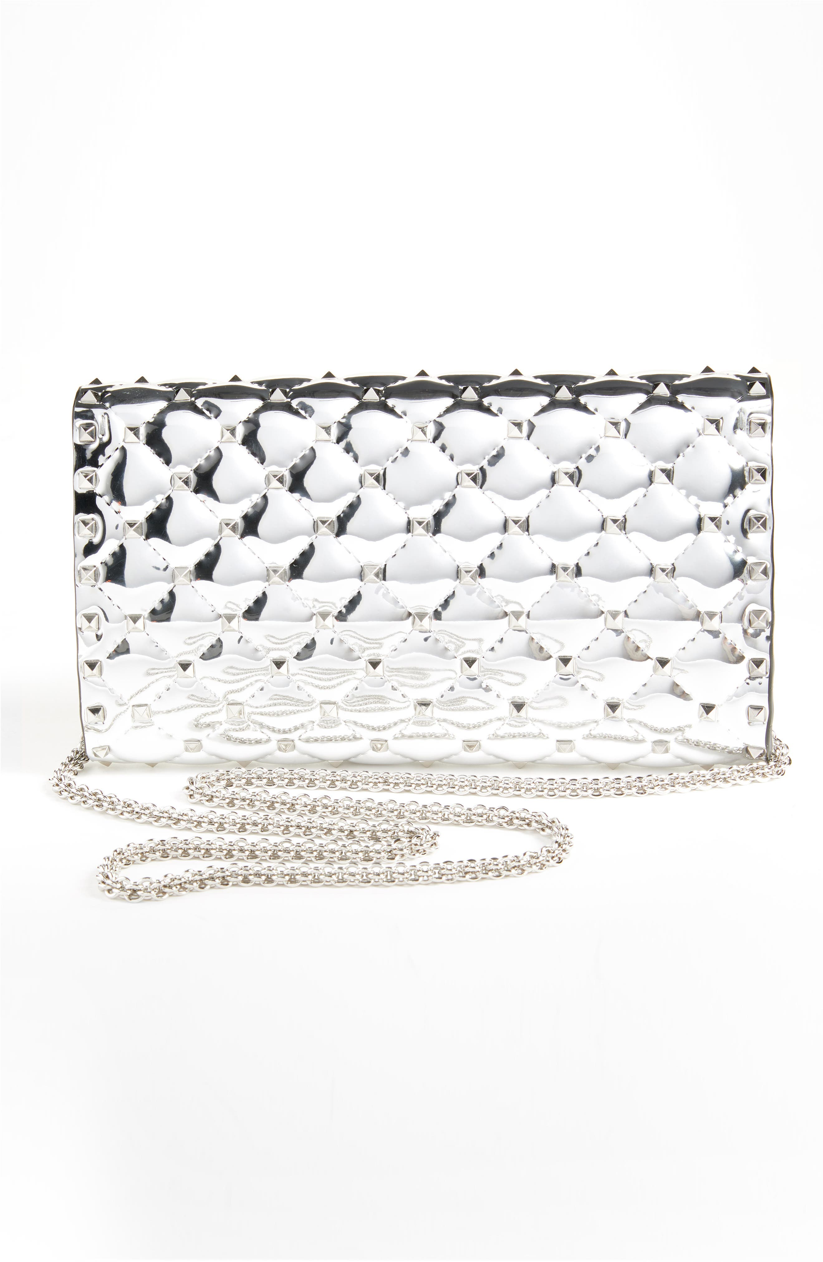 VALENTINO GARAVANI,                             Specchio Rockstud Spike Quilted Leather Clutch,                             Alternate thumbnail 3, color,                             040