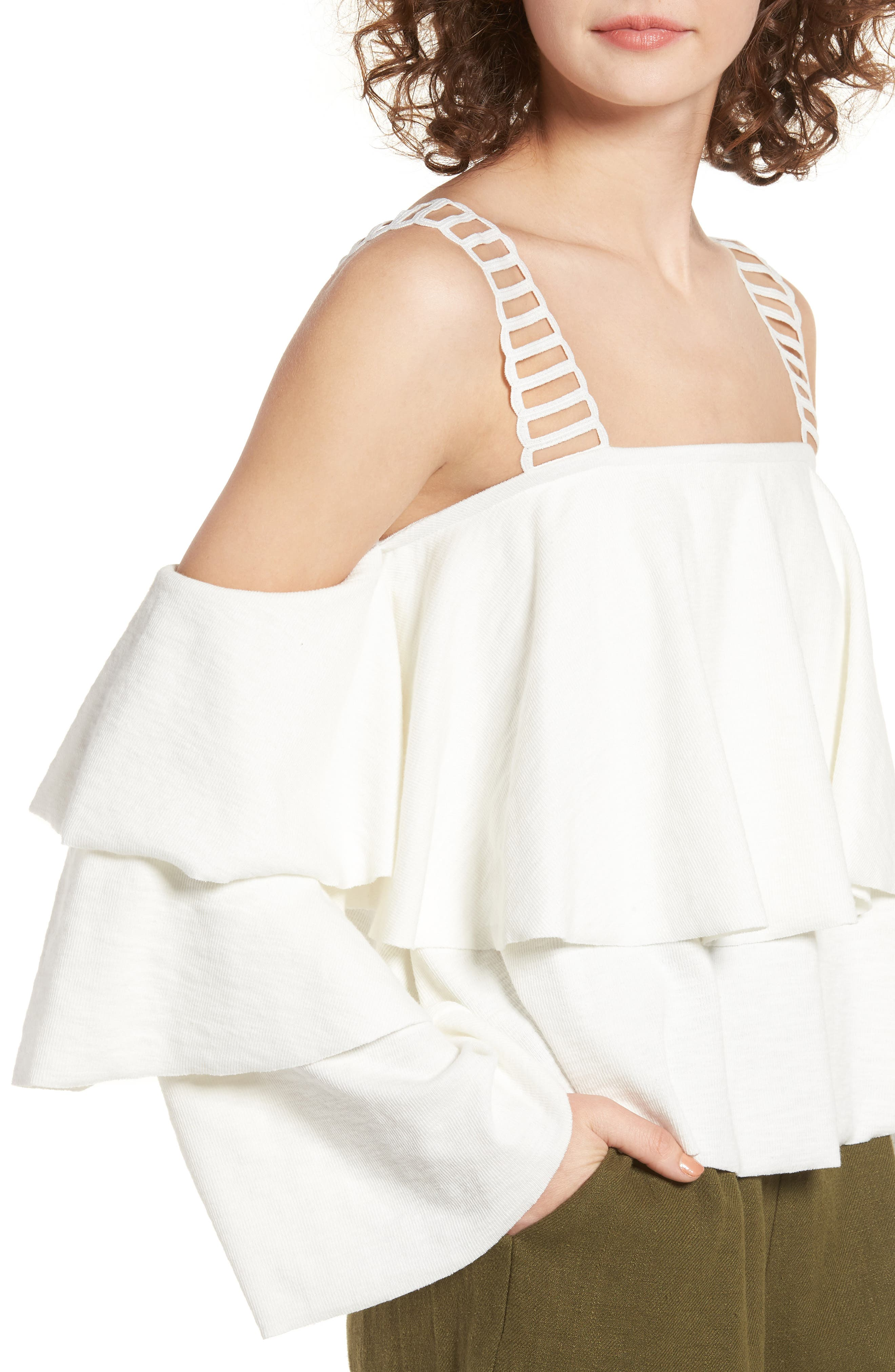 Lace & Ruffle Off the Shoulder Top,                             Alternate thumbnail 4, color,                             100
