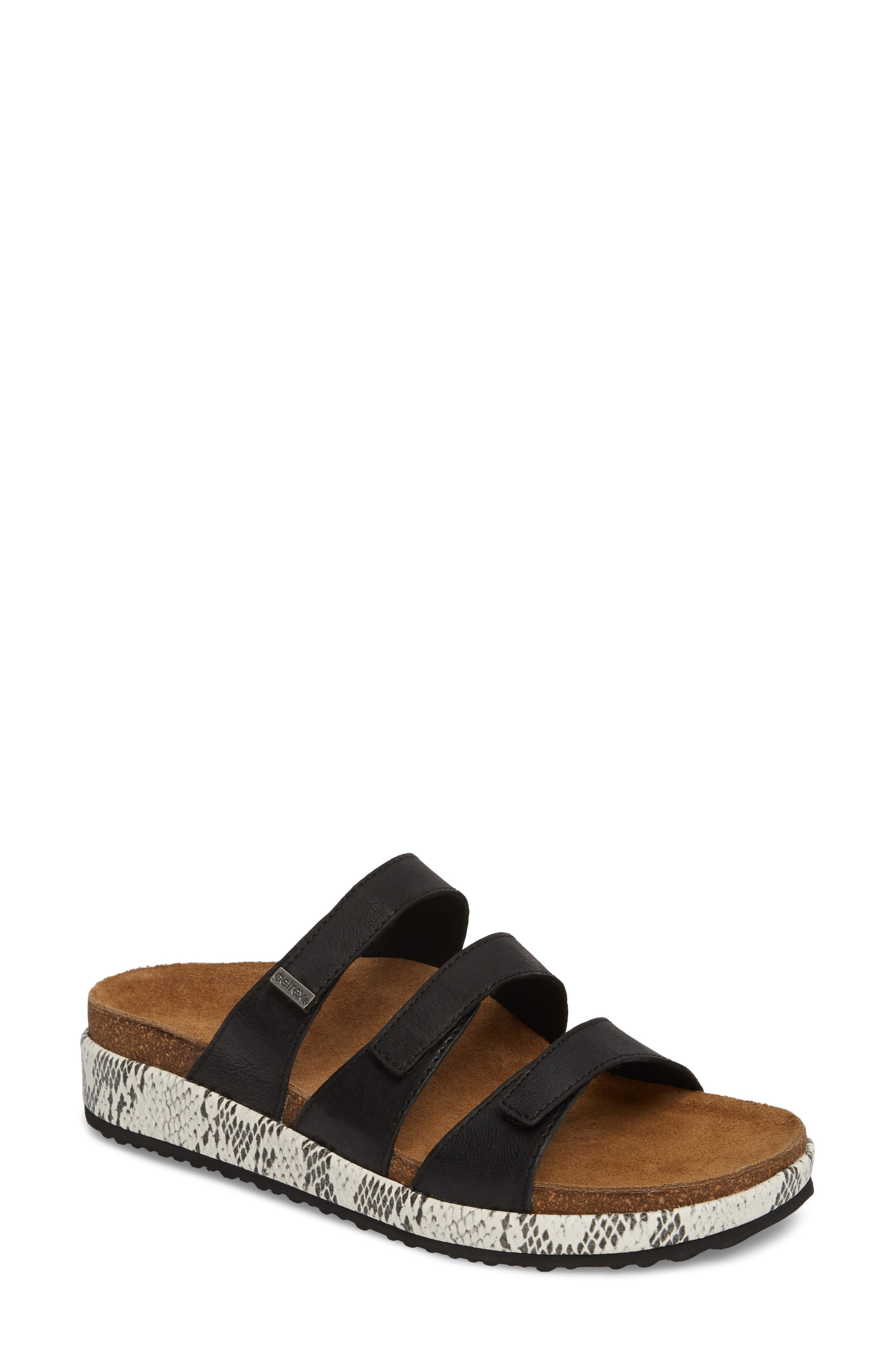 Isabelle Slide Sandal,                         Main,                         color, BLACK LEATHER
