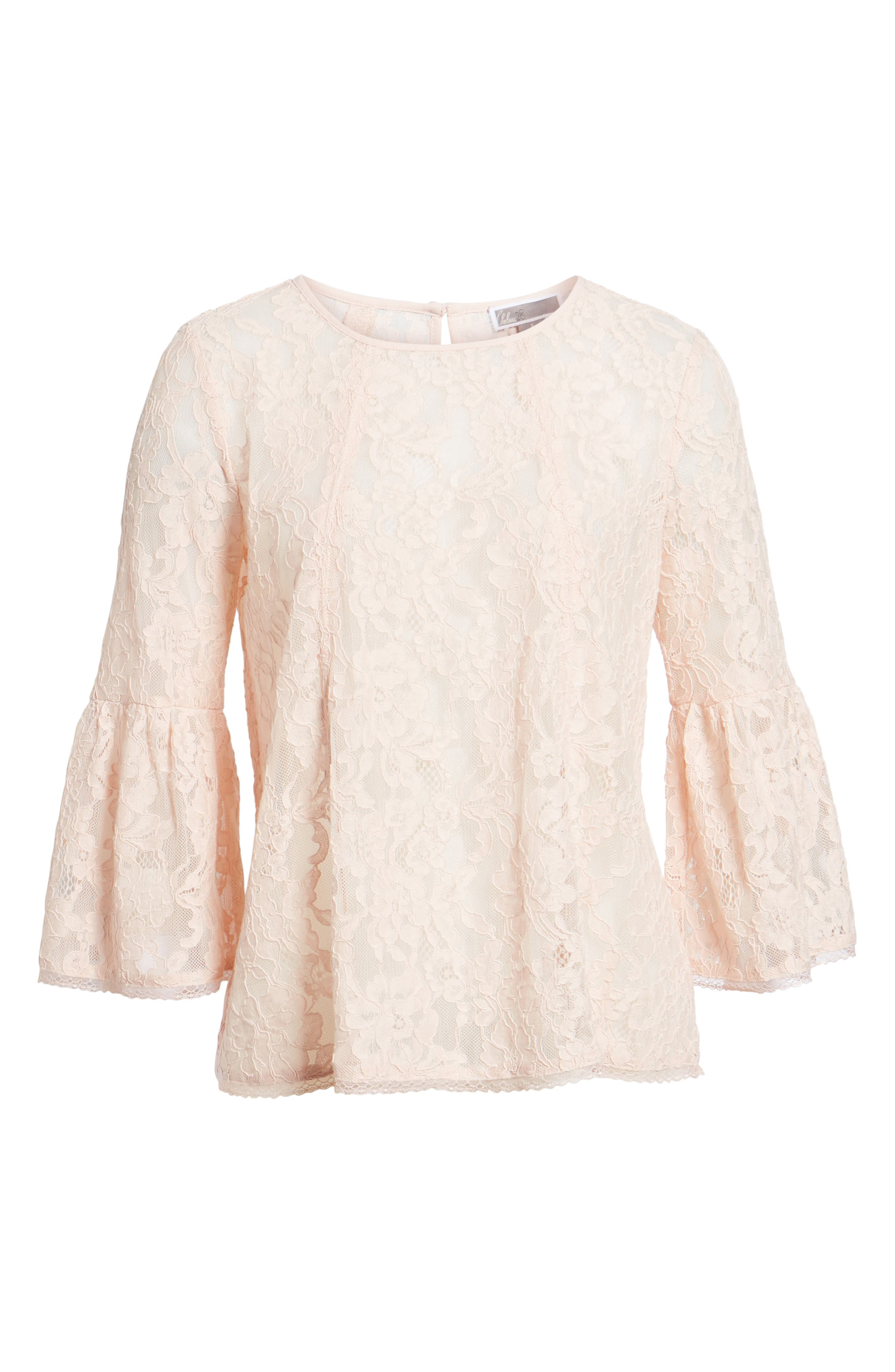 Bell Sleeve Lace Top,                             Alternate thumbnail 17, color,
