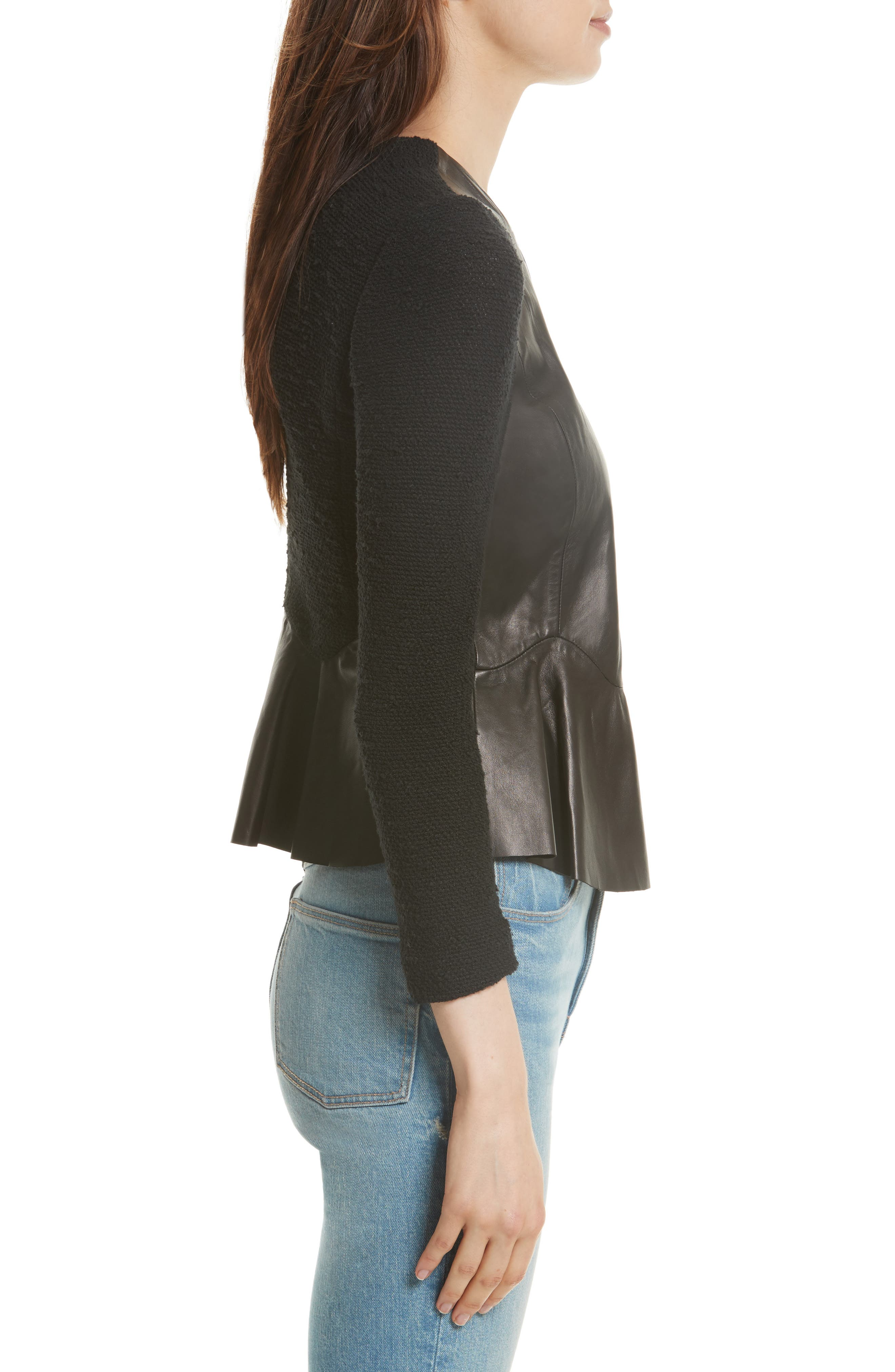 Knit & Lambskin Leather Jacket,                             Alternate thumbnail 3, color,