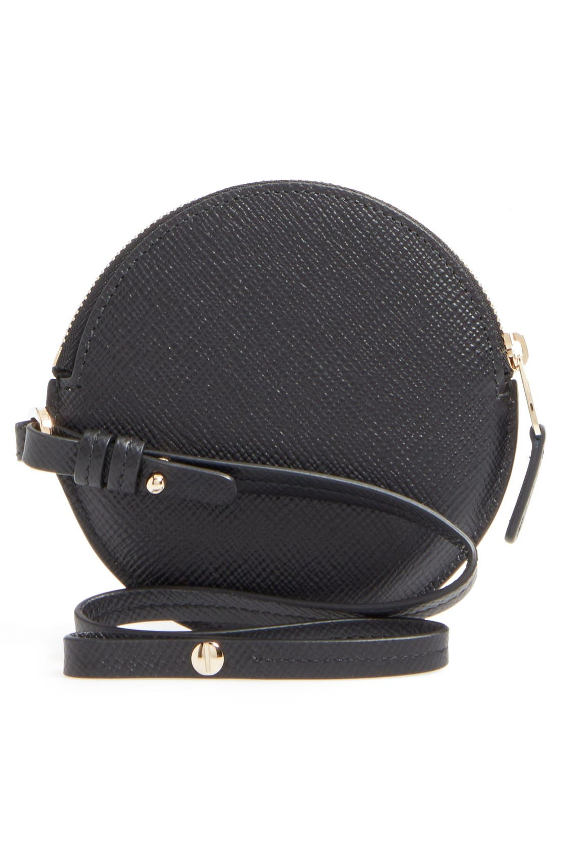 Circle Leather Coin Purse,                             Alternate thumbnail 9, color,