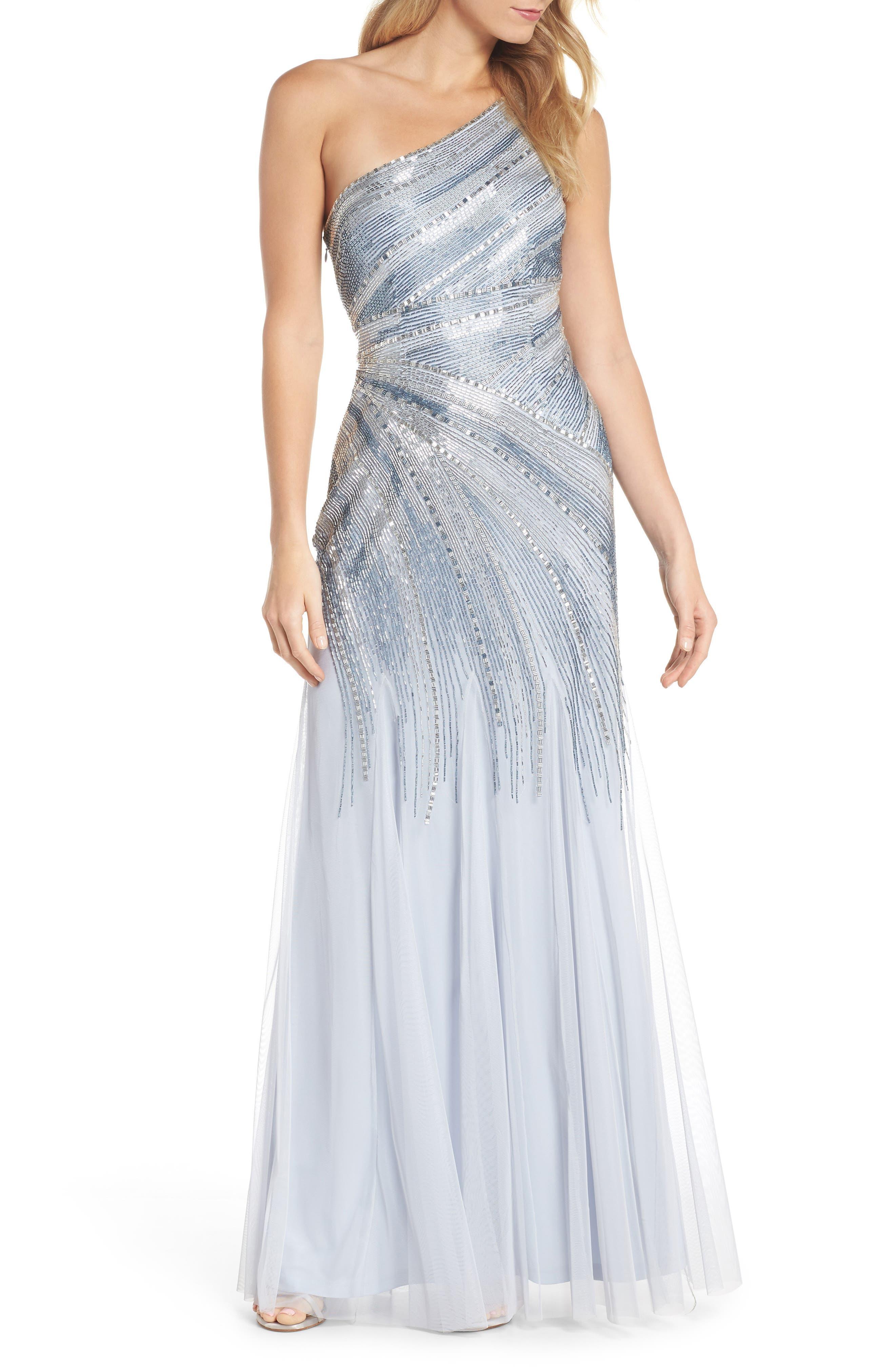 Beaded One-Shoulder Mermaid Gown,                         Main,                         color, 450