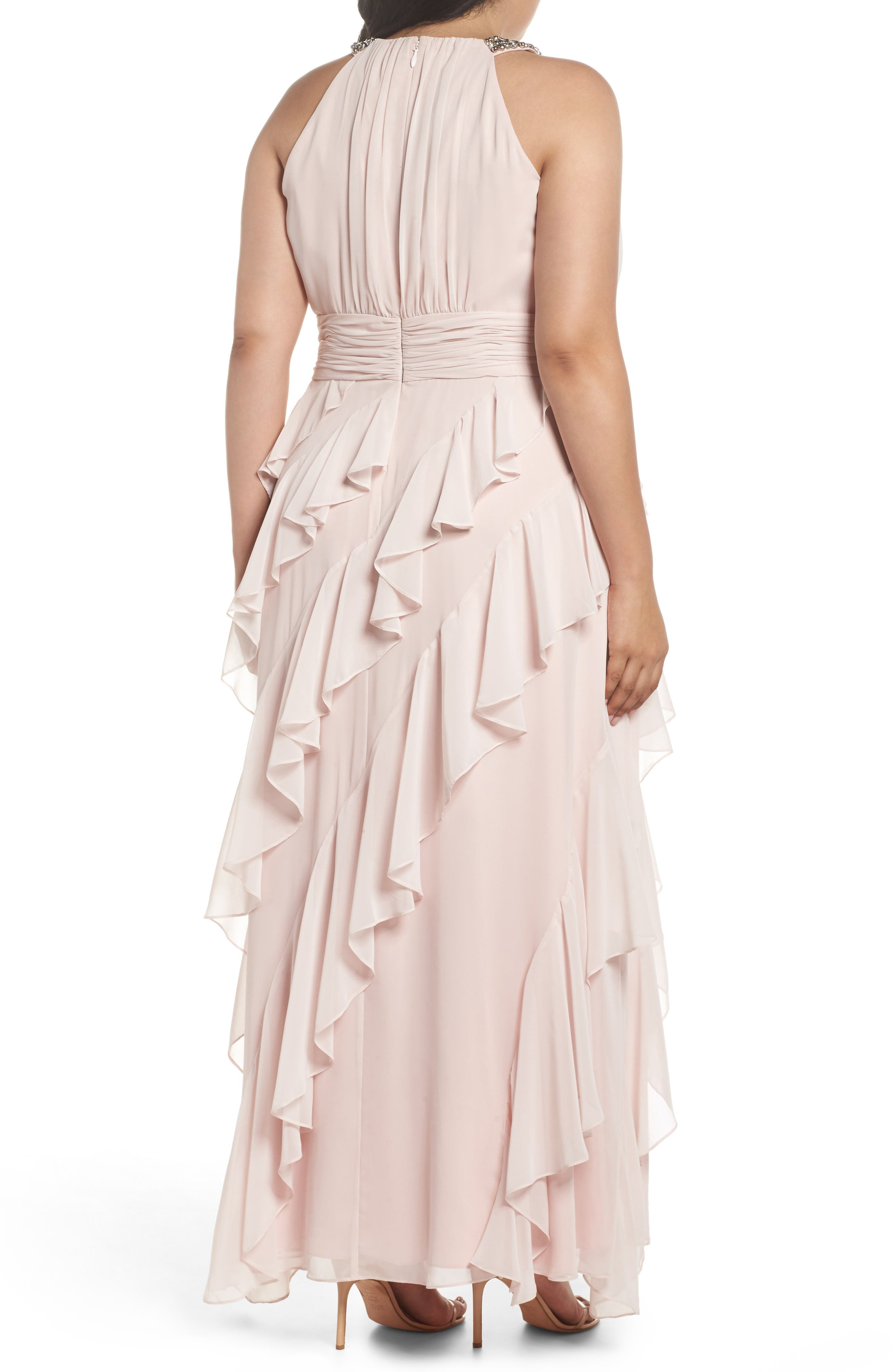 Embellished Ruffle Chiffon Gown,                             Alternate thumbnail 2, color,