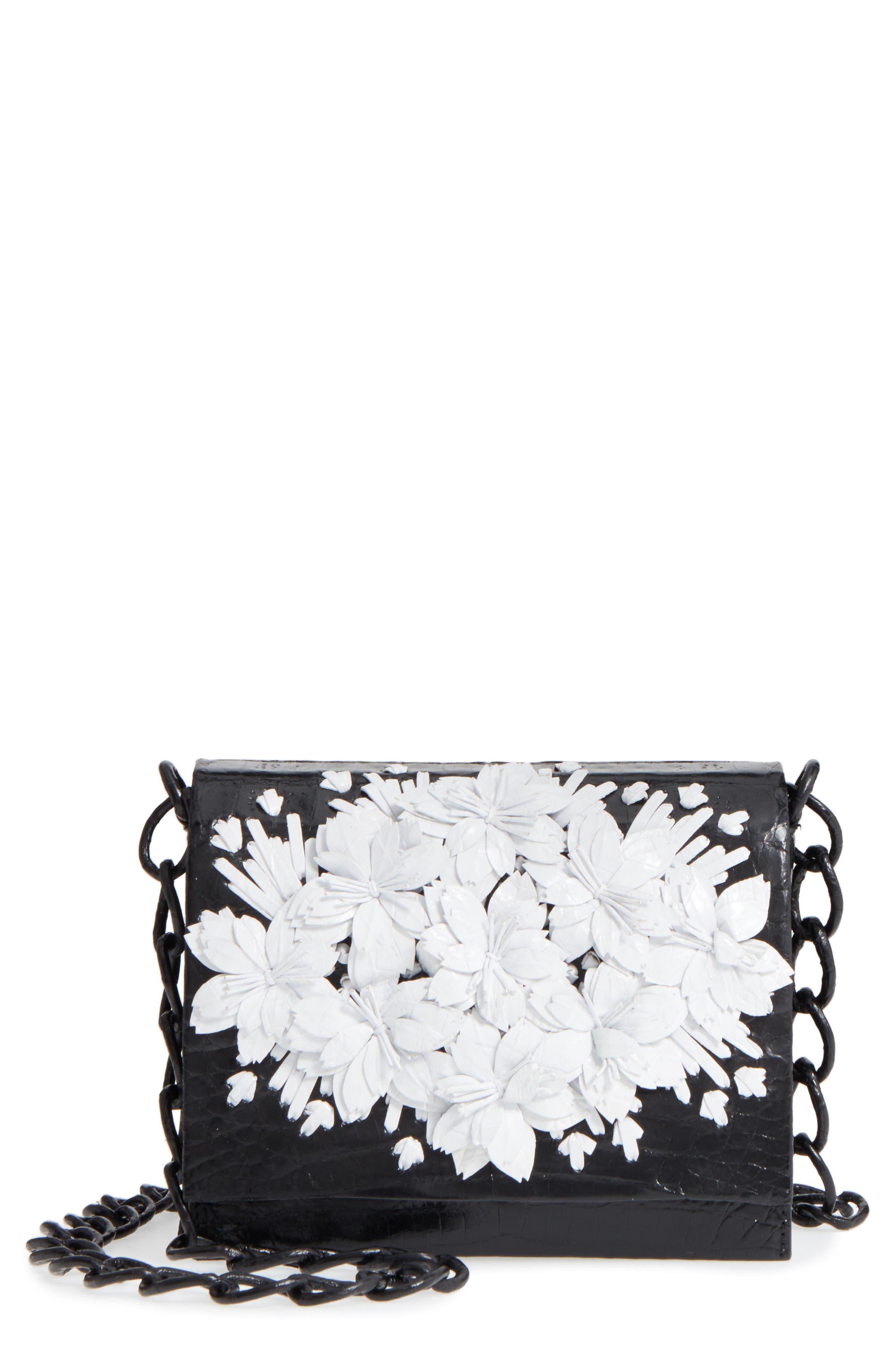 Gio Flower Genuine Crocodile Crossbody Bag,                         Main,                         color, 001