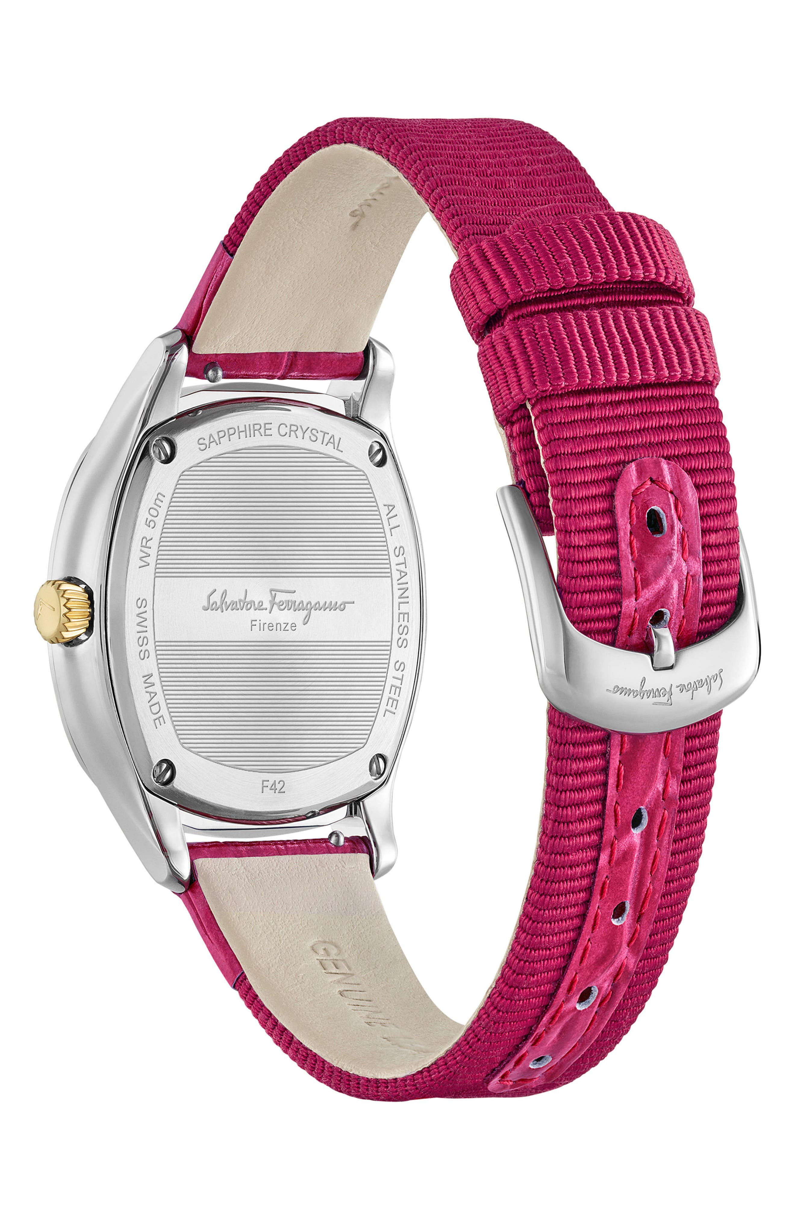 Dual Leather Strap Watch, 36mm,                             Alternate thumbnail 2, color,                             FUCHSIA/ SILVER