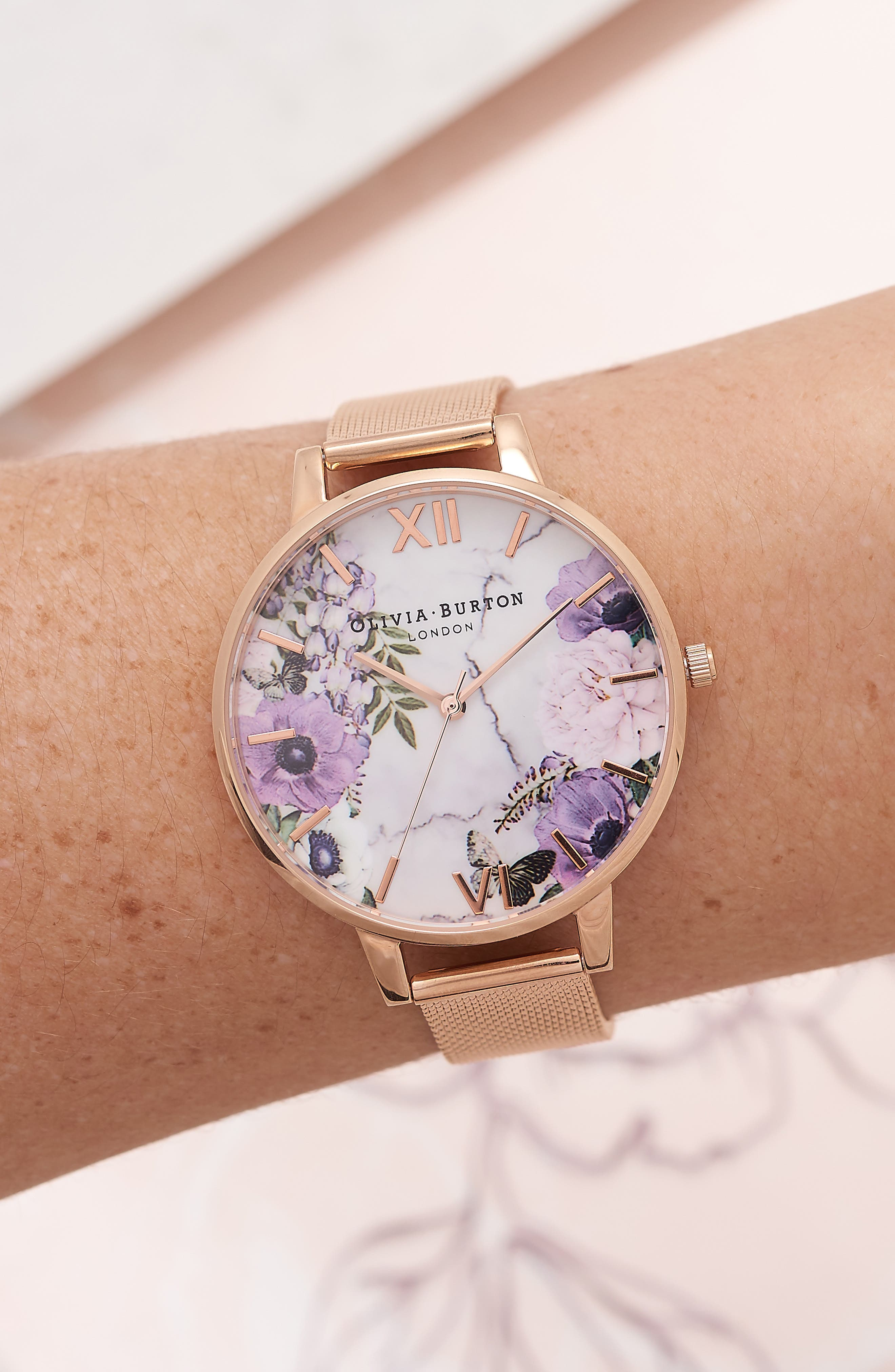 Marble Floral Mesh Strap Watch, 38mm,                             Alternate thumbnail 2, color,                             710