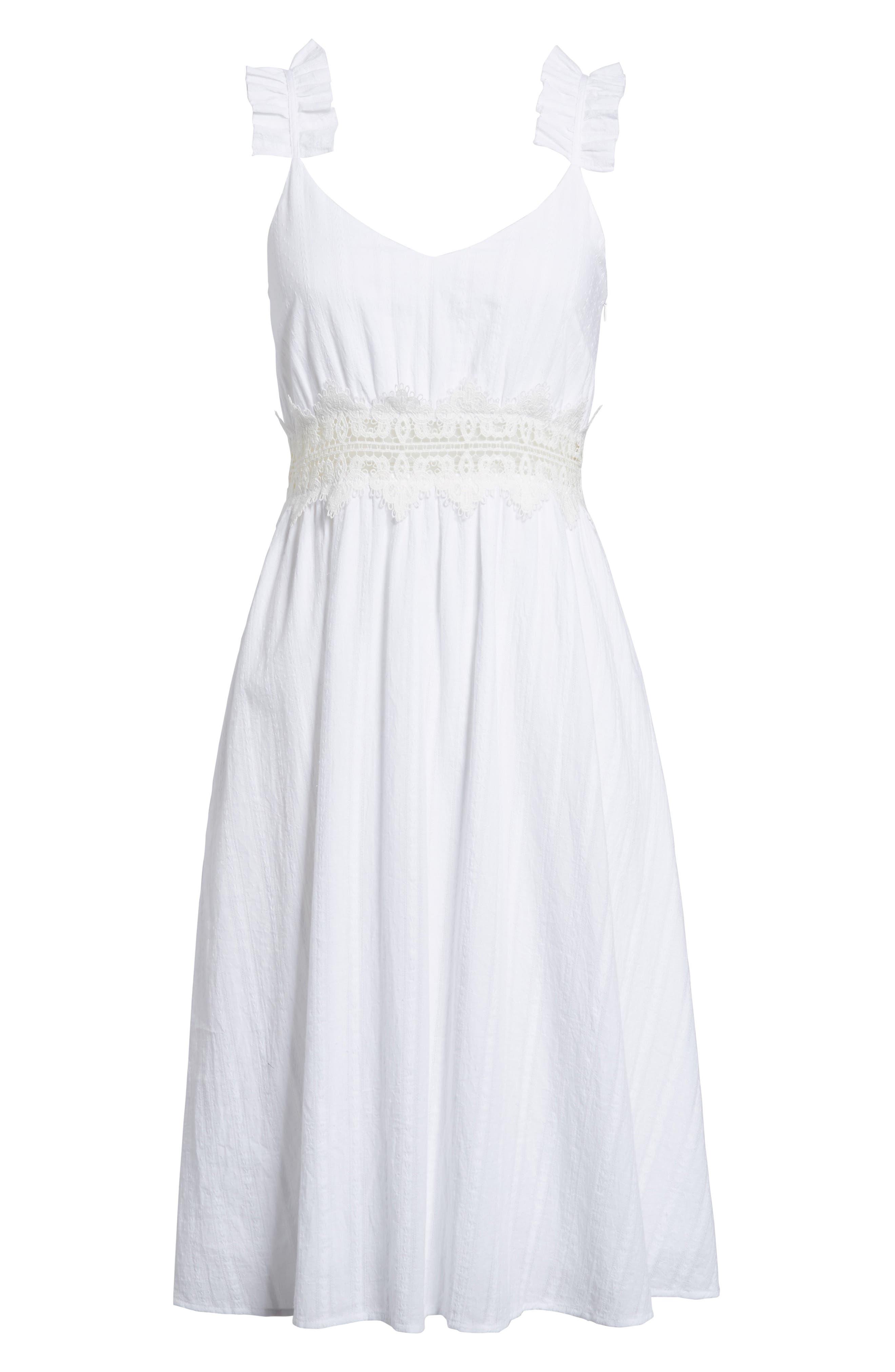 Lace Inset Cotton Dress,                             Alternate thumbnail 6, color,                             100