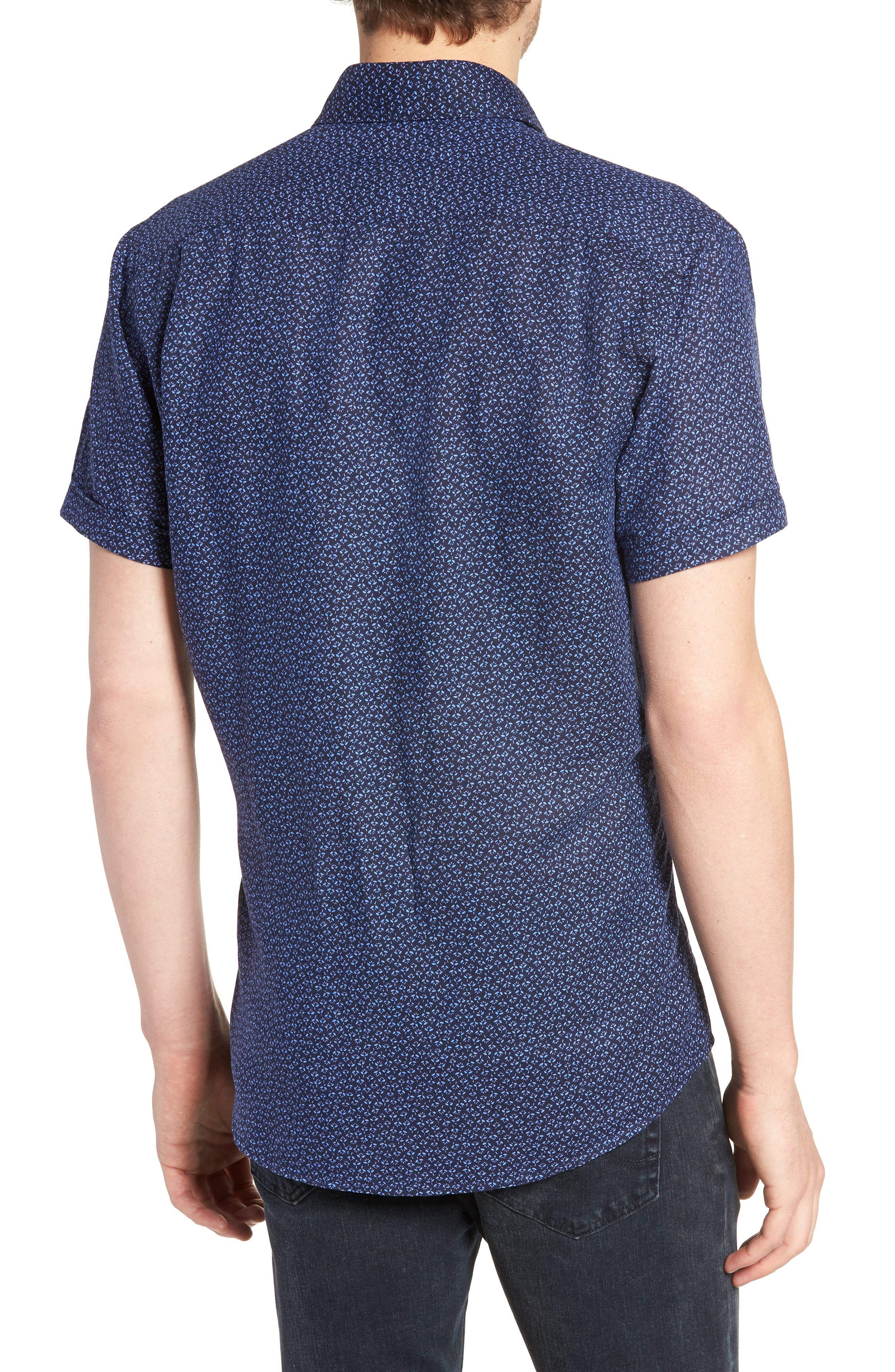 Windermere Linen & Cotton Sport Shirt,                             Alternate thumbnail 2, color,                             INDIGO