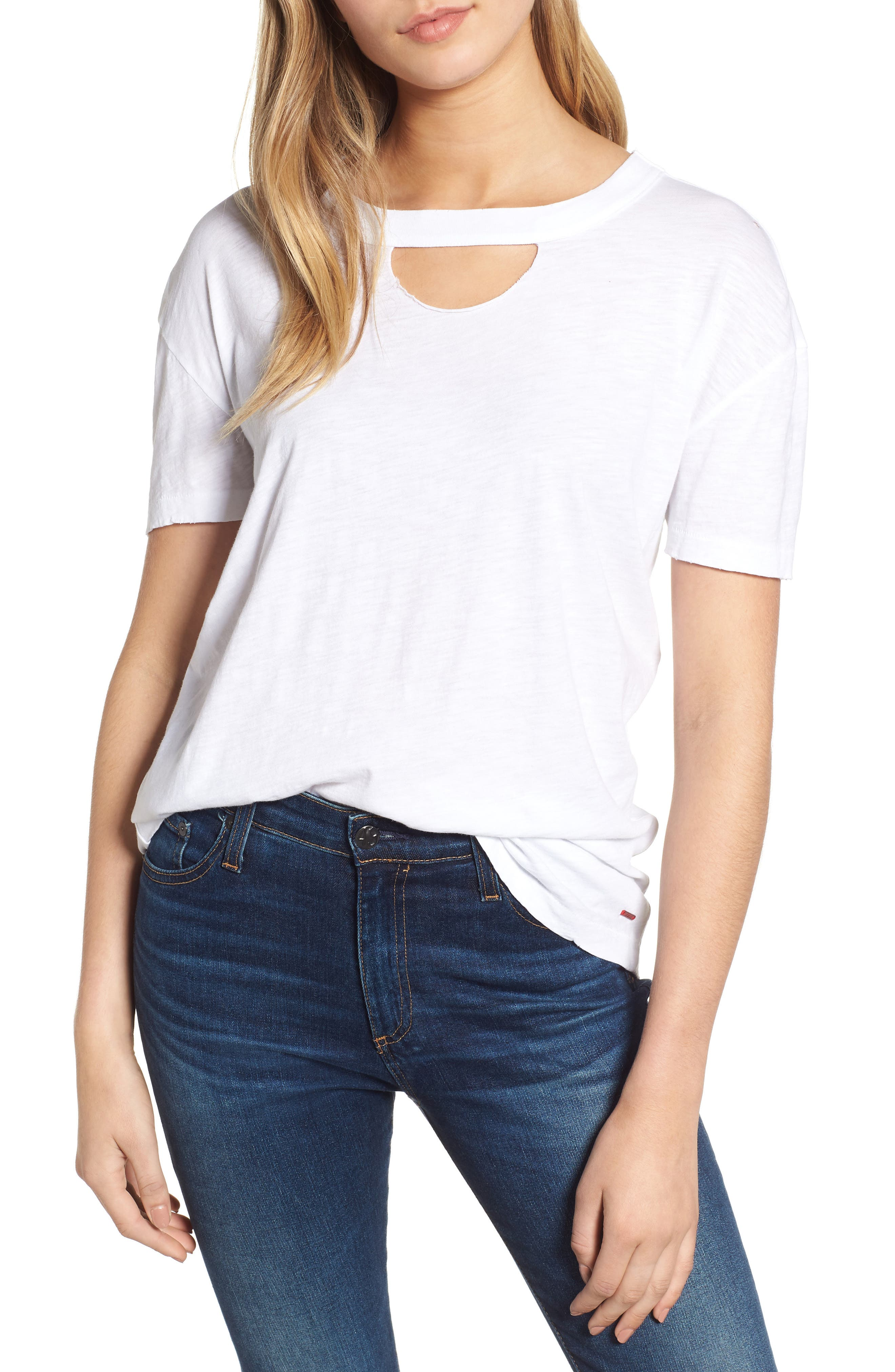 Allen Cutout Detail Boyfriend Cotton Tee,                         Main,                         color, WHITE