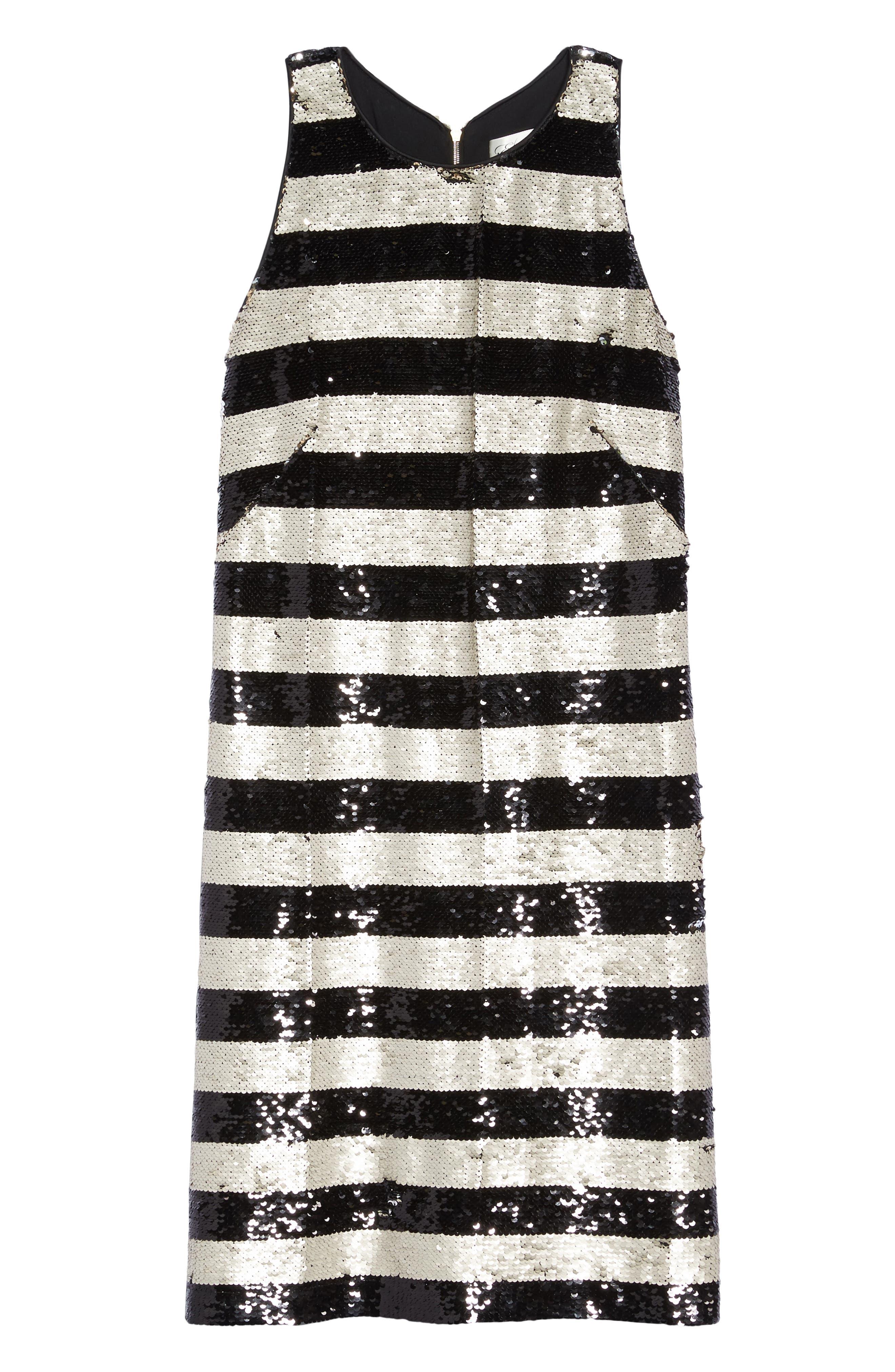 Reversible Stripe Sequin Shift Dress,                             Alternate thumbnail 6, color,                             006