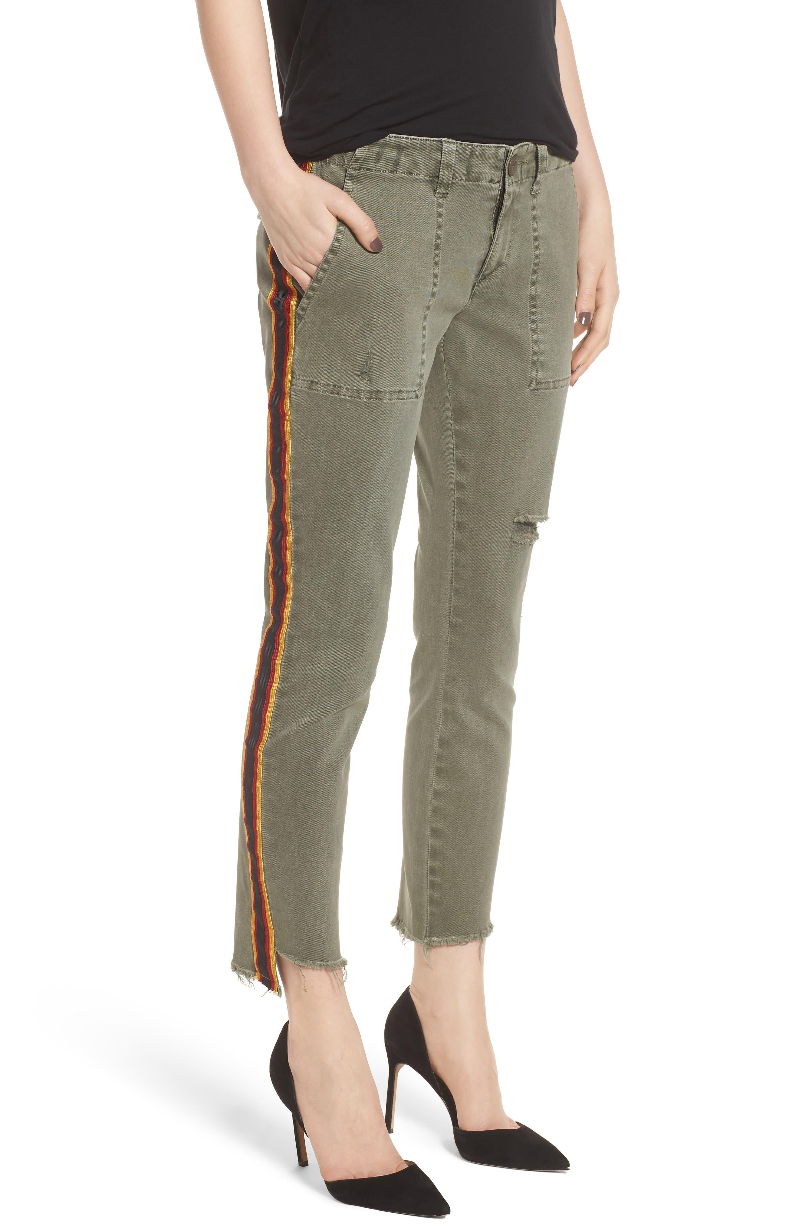 Uniform Stripe Step Hem Pants,                             Main thumbnail 1, color,                             MILITIA
