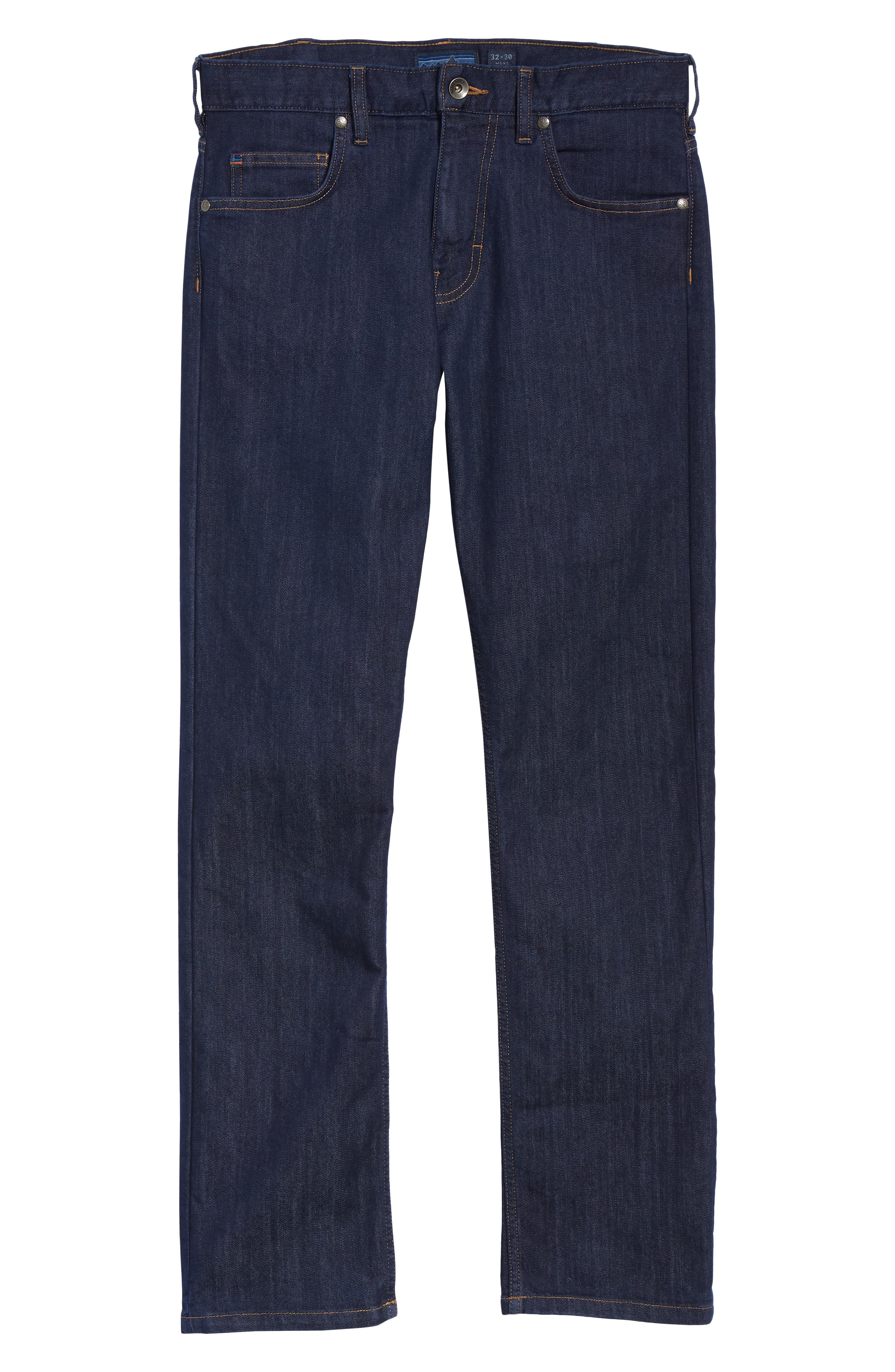 Straight Leg Performance Jeans,                             Alternate thumbnail 6, color,                             DARK DENIM