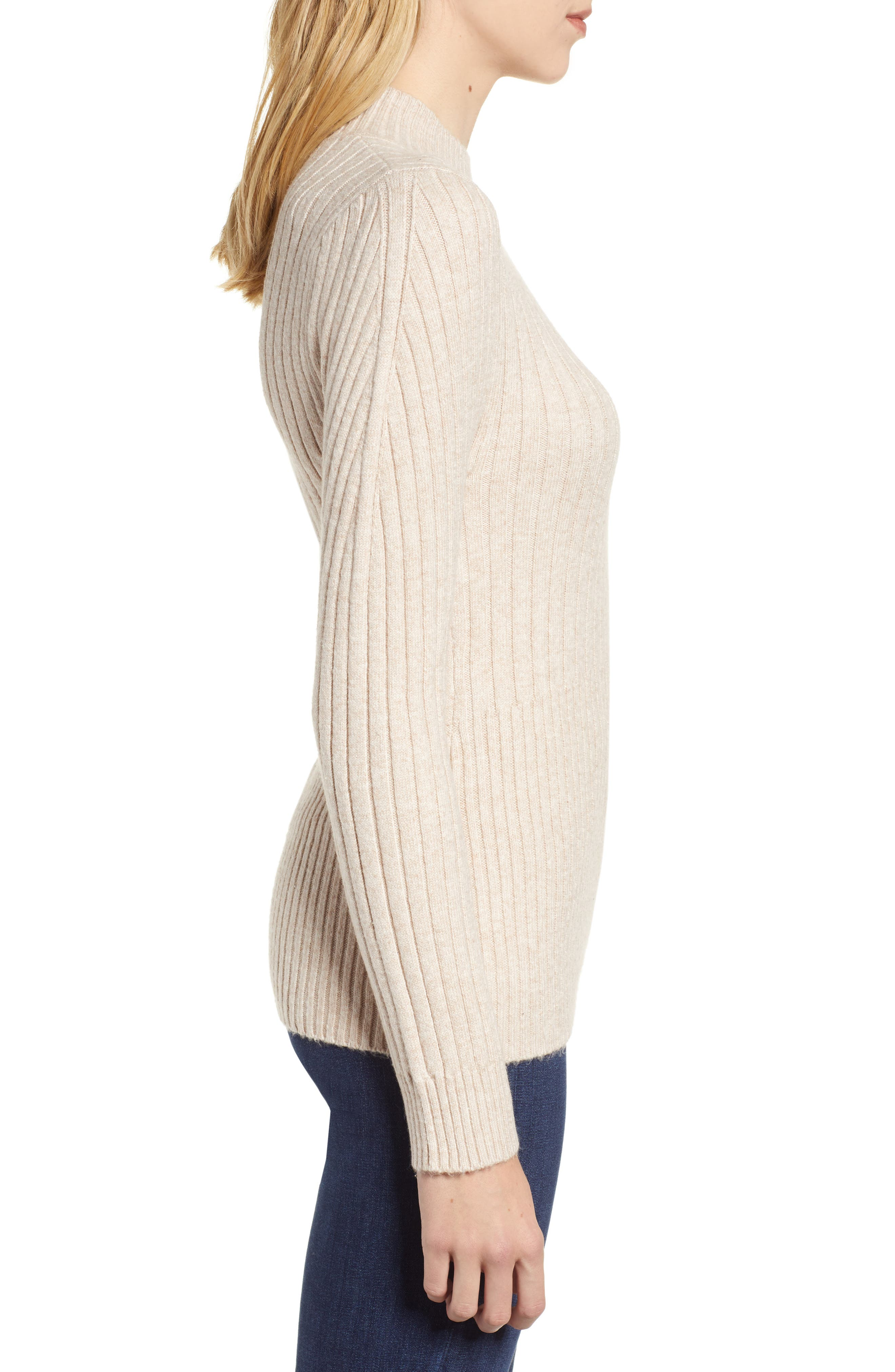 Mixed Rib Sweater,                             Alternate thumbnail 3, color,                             WARM OATMEAL HEATHER
