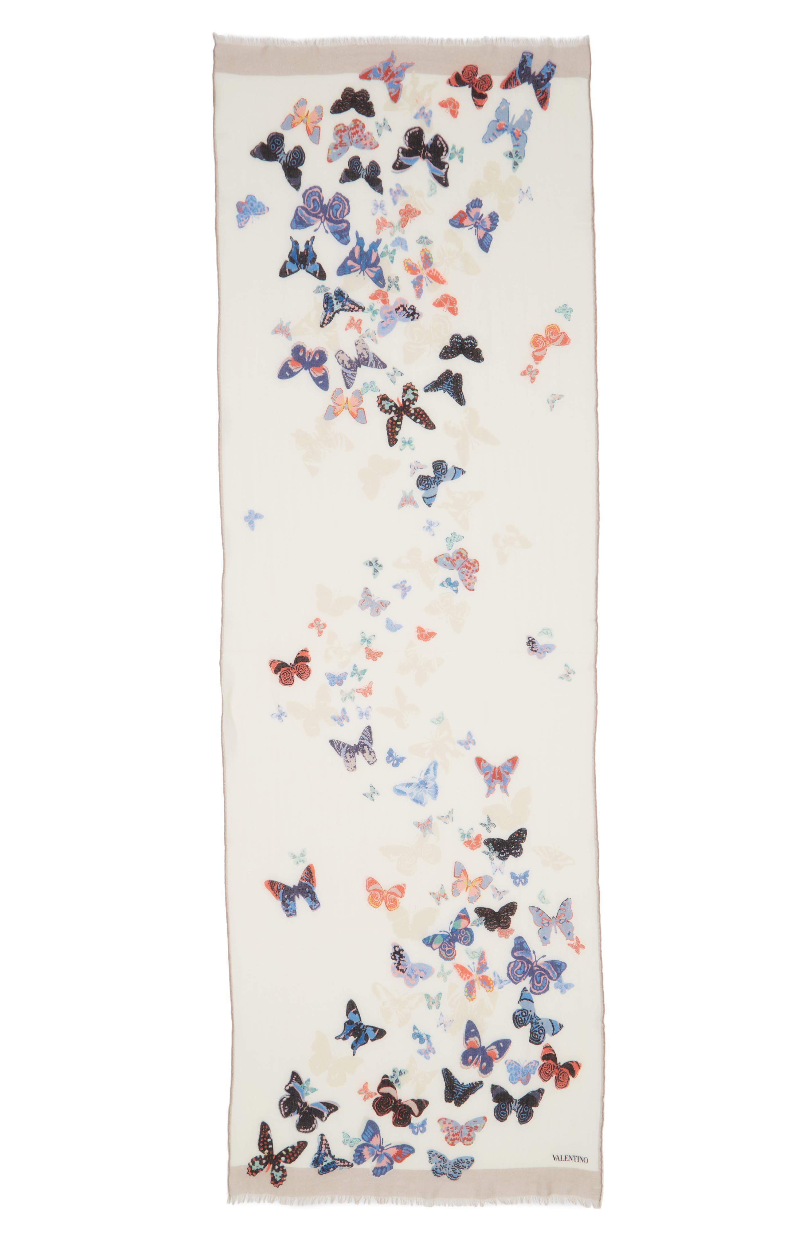 VALENTINO,                             Butterfly Wool Scarf,                             Alternate thumbnail 2, color,                             ALMOND