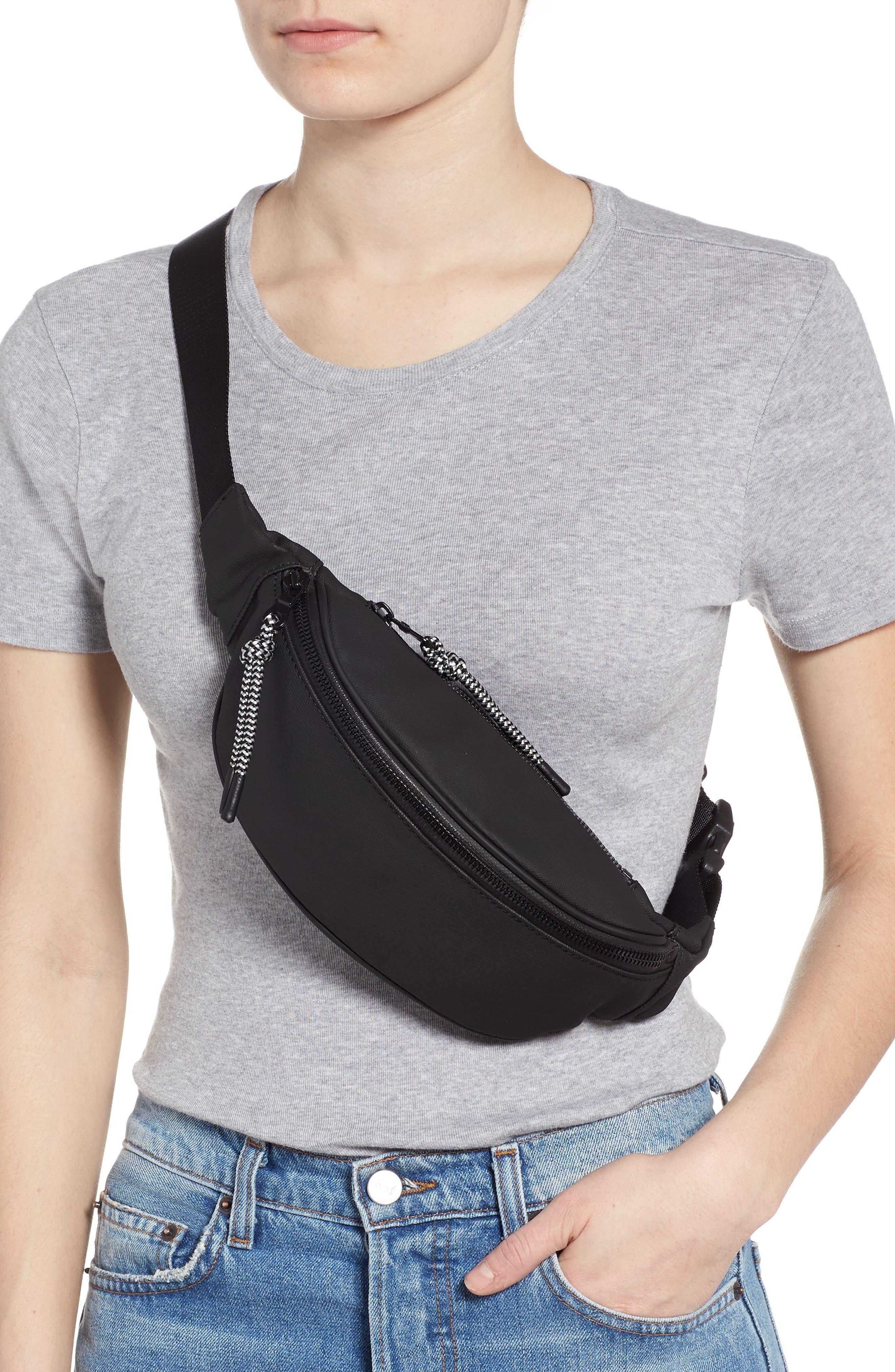 Mason Water Resistant Belt Bag,                             Alternate thumbnail 3, color,                             BLACK/ BLACK