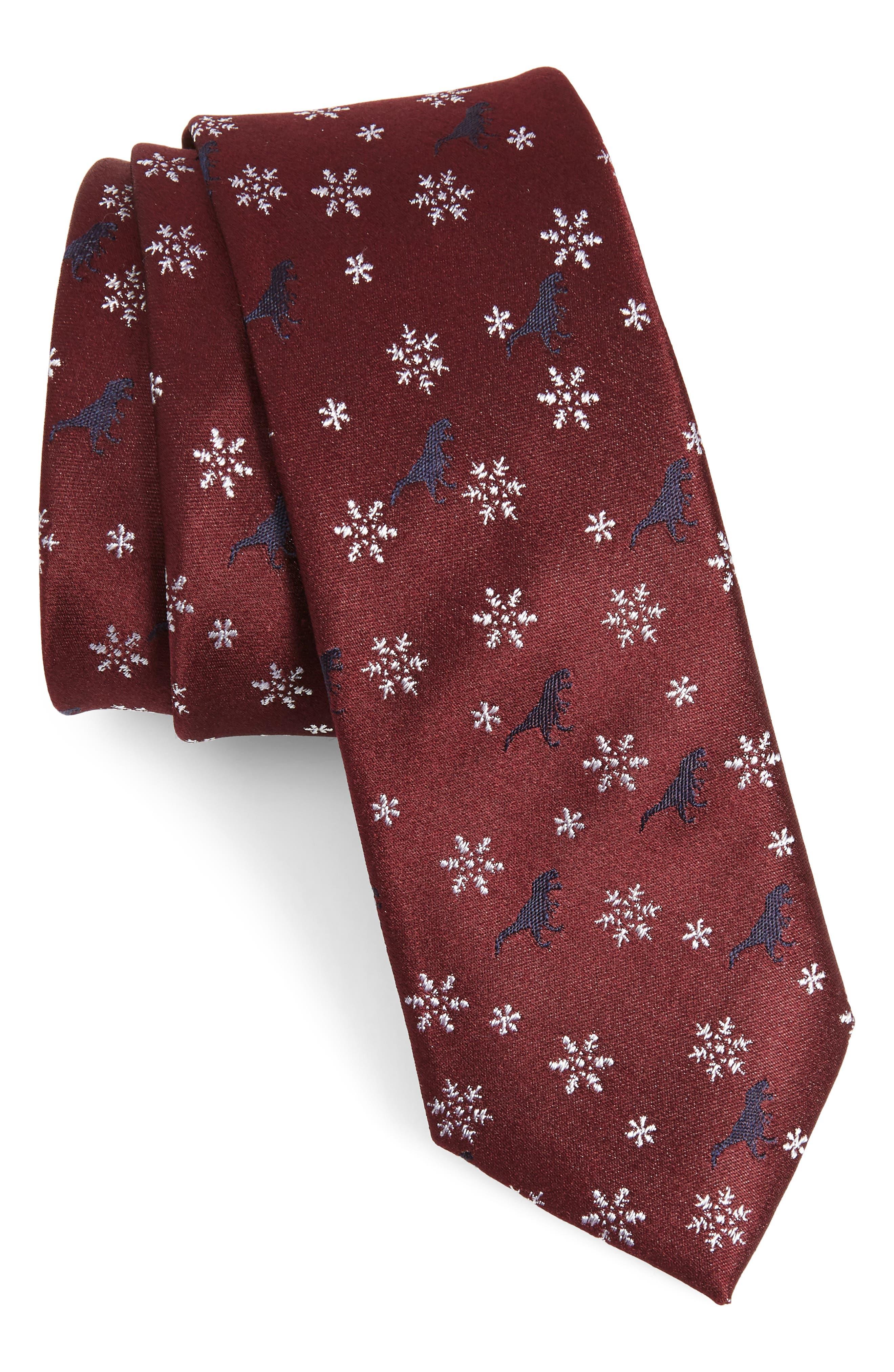 Dino Holiday Silk Tie,                             Main thumbnail 1, color,                             BURGUNDY