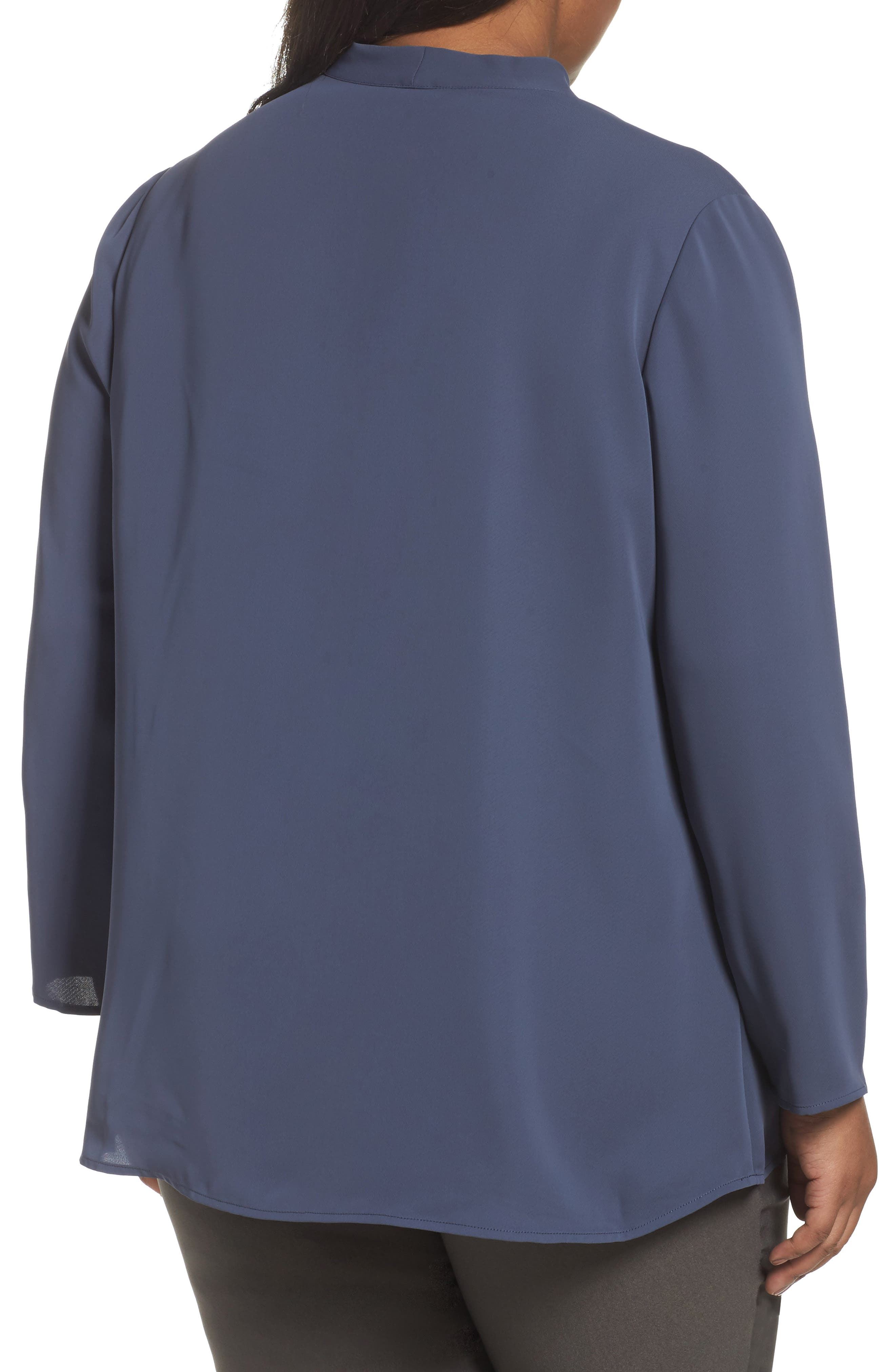 Majestic Matte Satin Blouse,                             Alternate thumbnail 2, color,                             SLATE