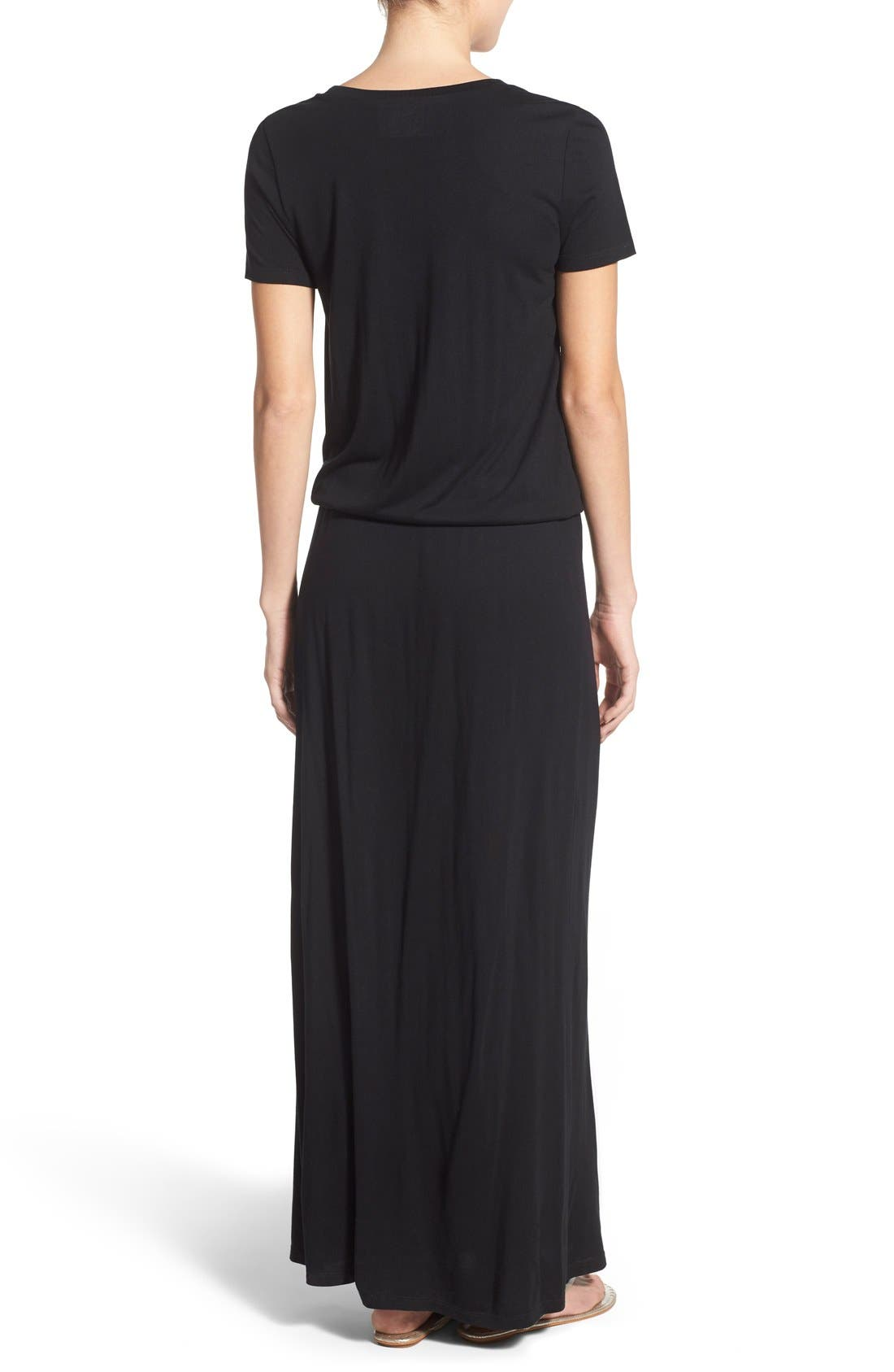 Drawstring V-Neck Jersey Maxi Dress,                             Alternate thumbnail 23, color,