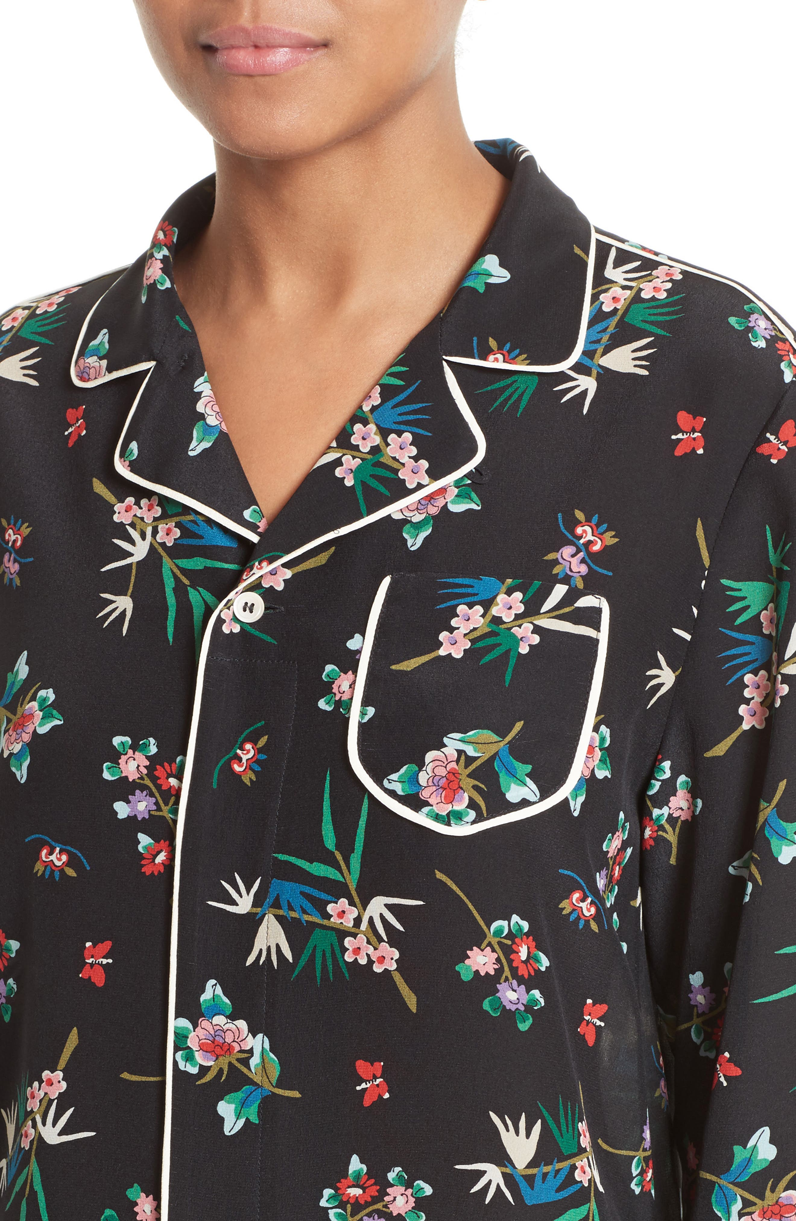 Wallpaper Floral Print Silk Blouse,                             Alternate thumbnail 4, color,                             001