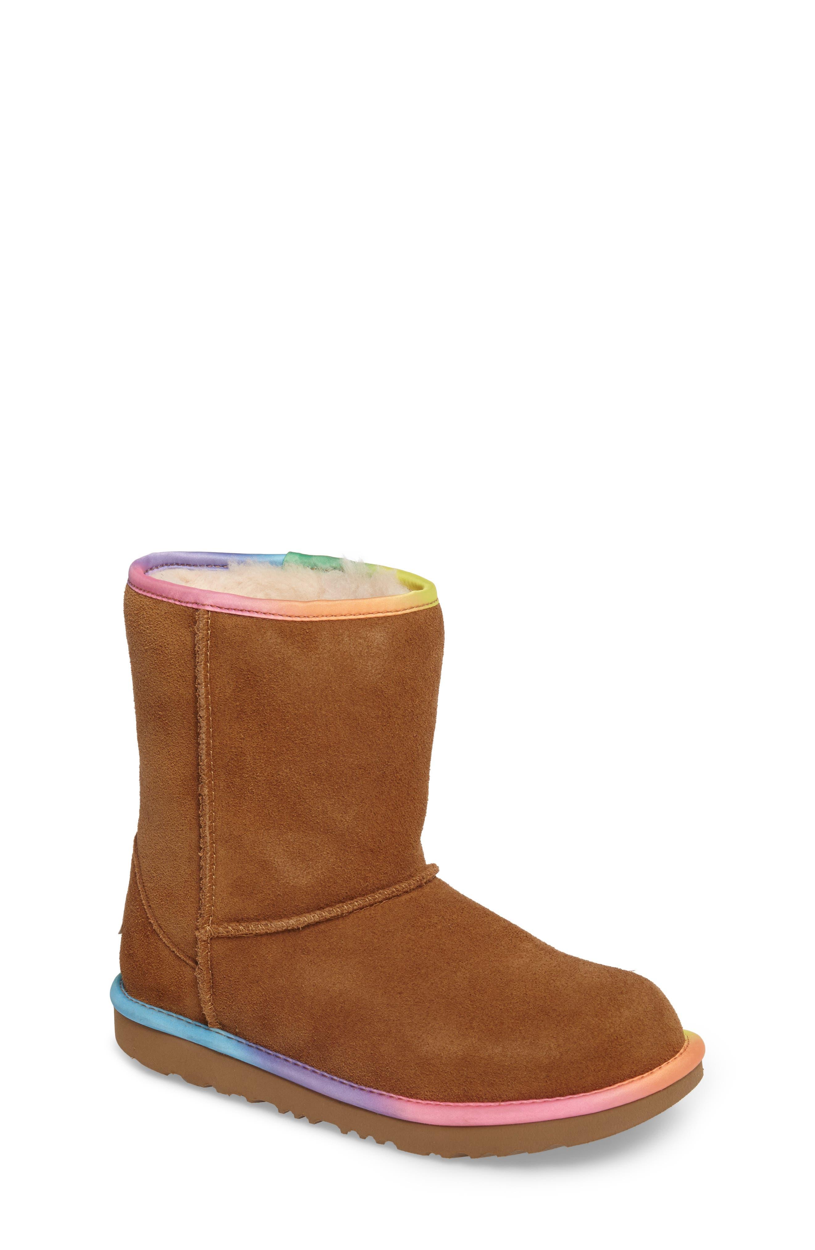 Classic Short II Water-Resistant Genuine Shearling Rainbow Boot,                             Main thumbnail 1, color,