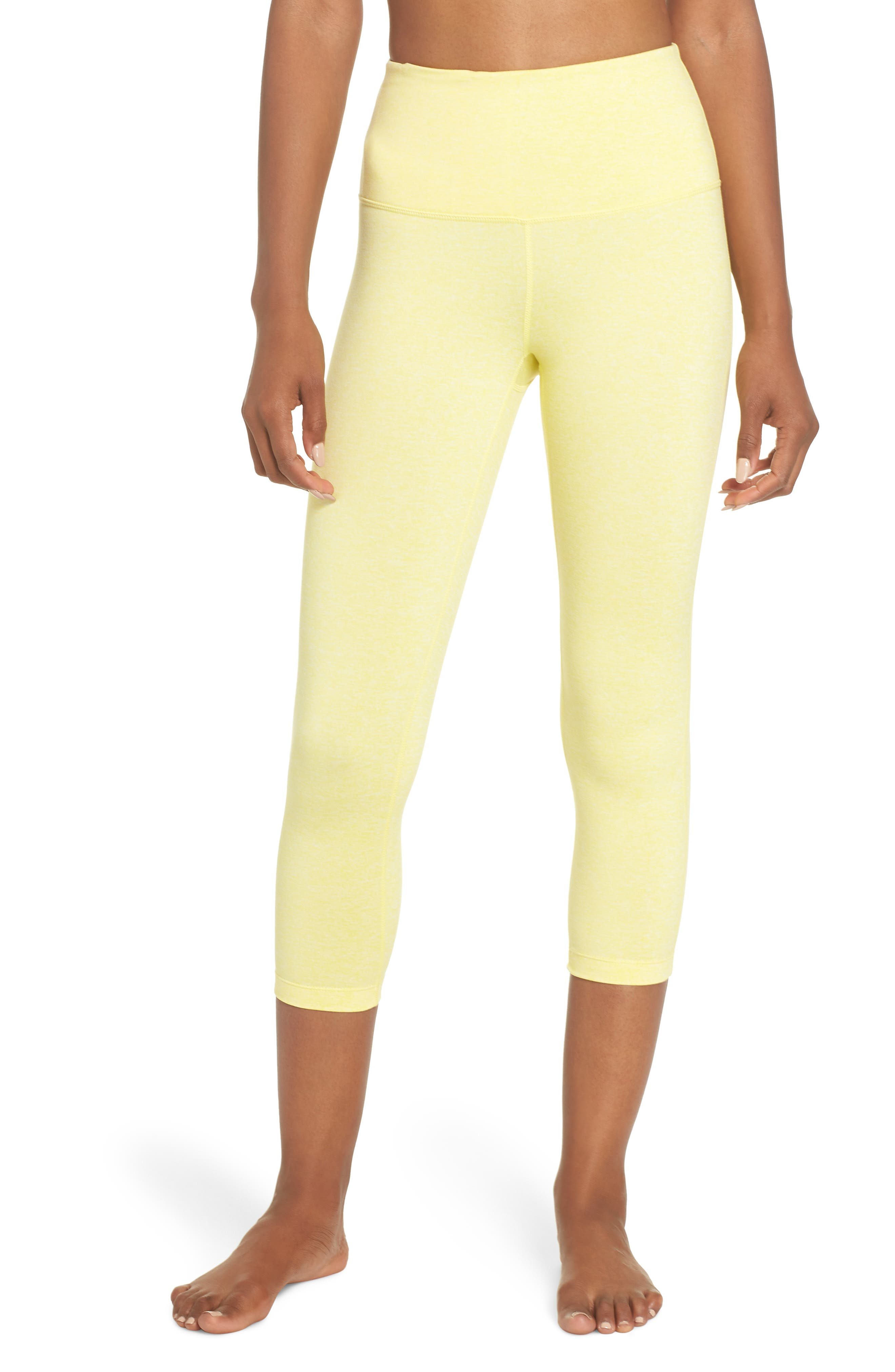 Live In High Waist Crop Recycled Leggings,                         Main,                         color, YELLOW GLOW