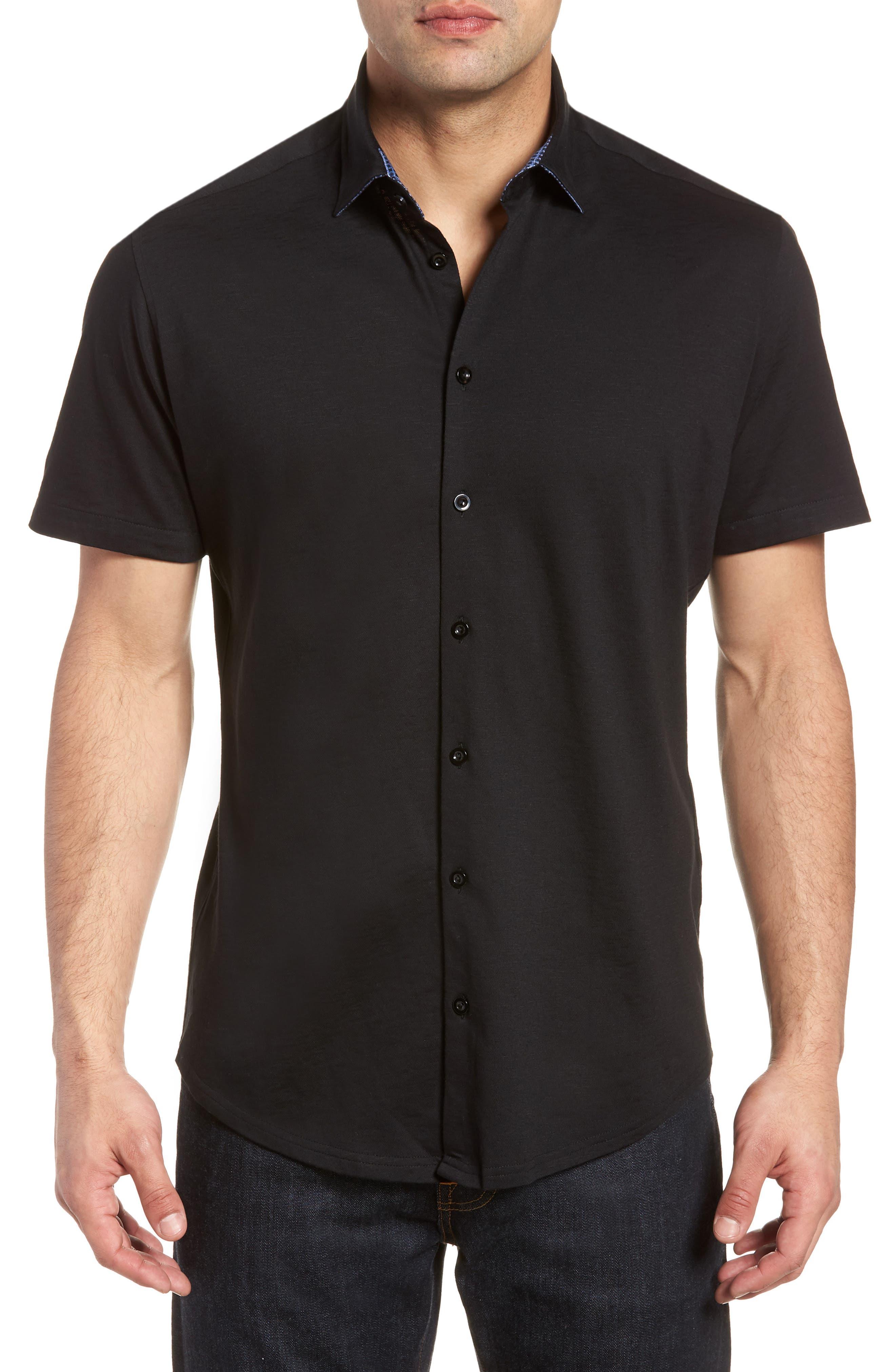 Slim Fit Flame Knit Sport Shirt,                             Main thumbnail 1, color,                             BLACK