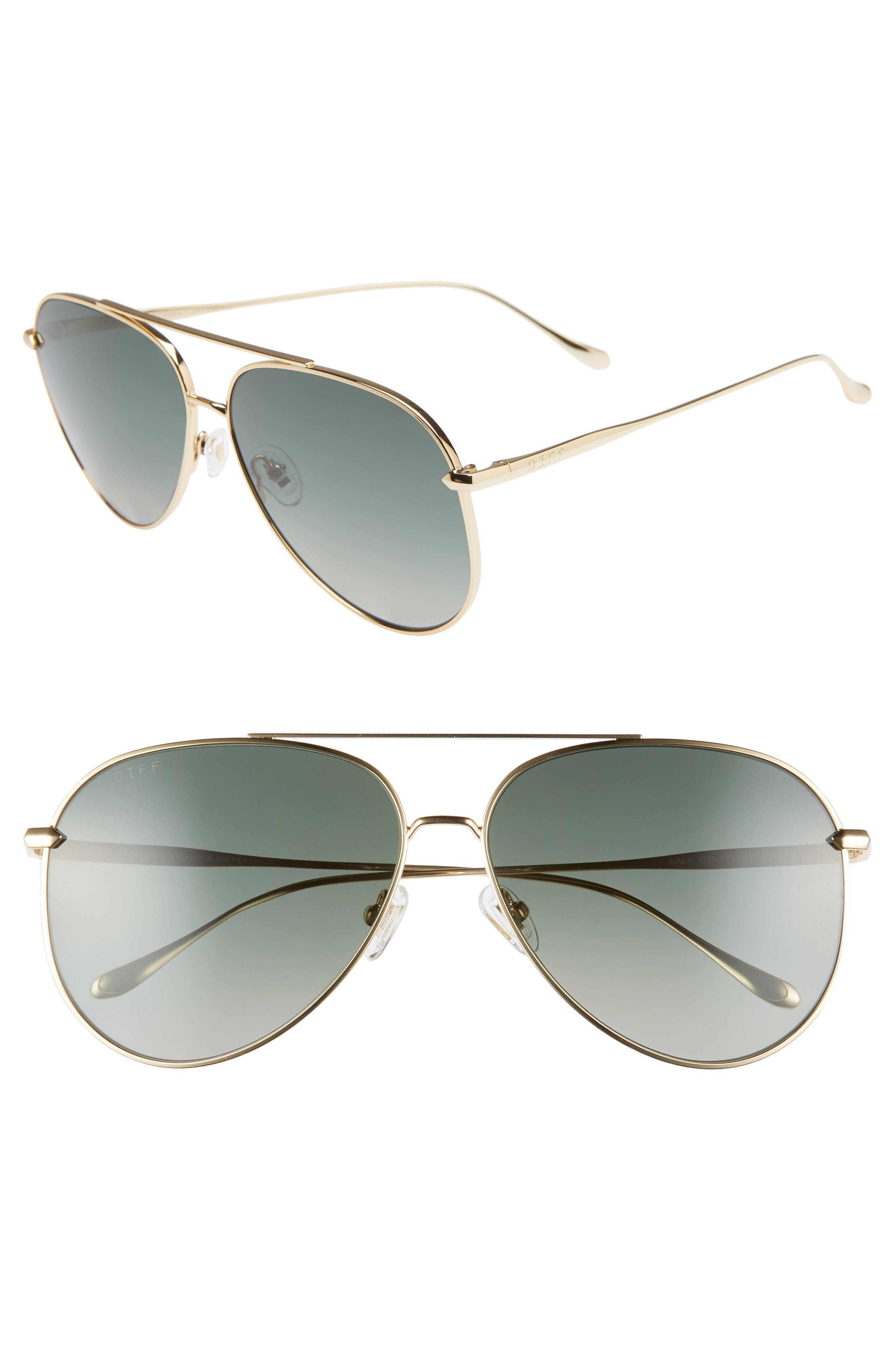Nala 63mm Oversize Polarized Aviator Sunglasses,                         Main,                         color, GOLD/ G15
