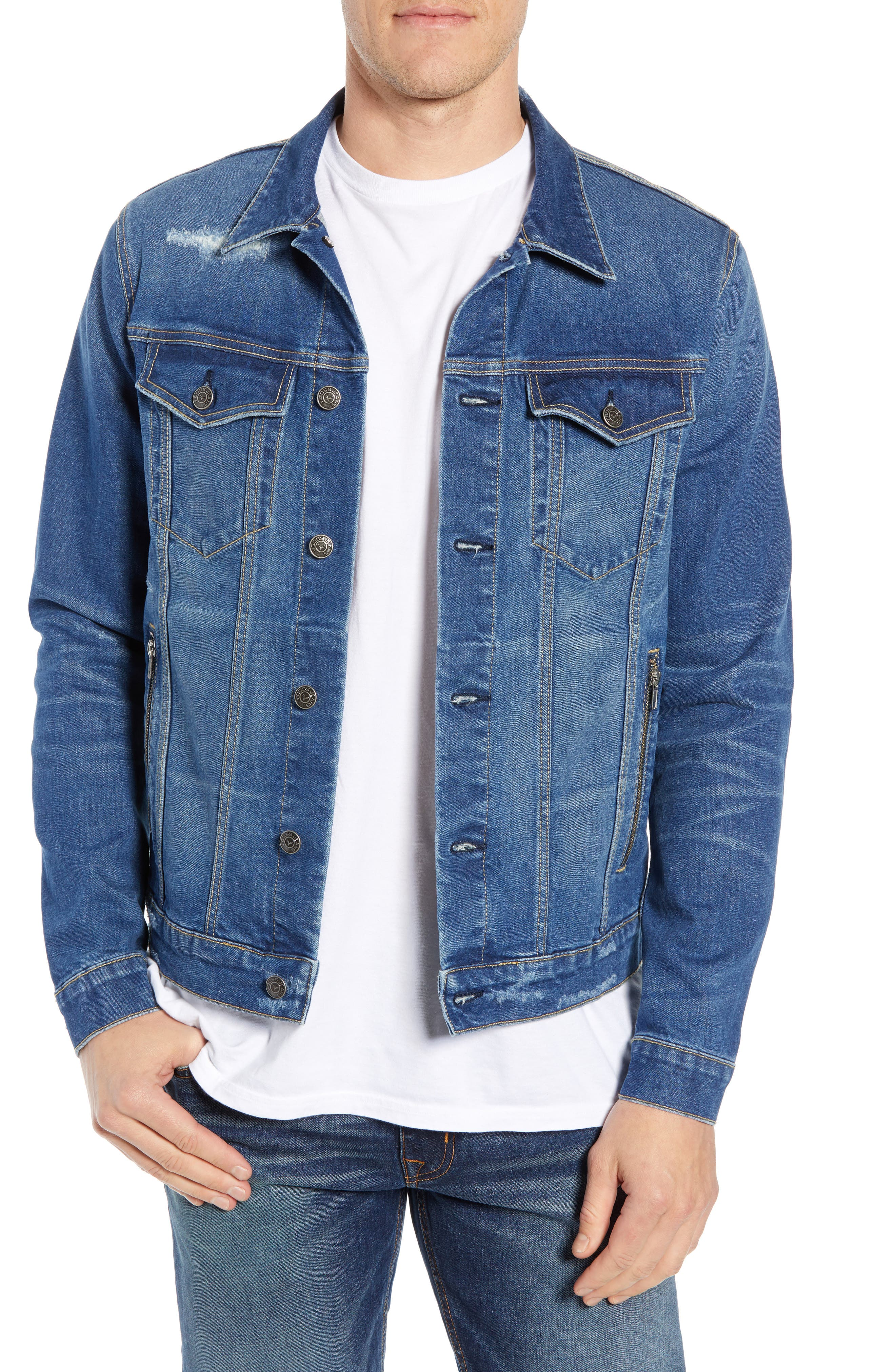 VIGOSS Denim Trucker Jacket, Main, color, BLUE VINTAGE