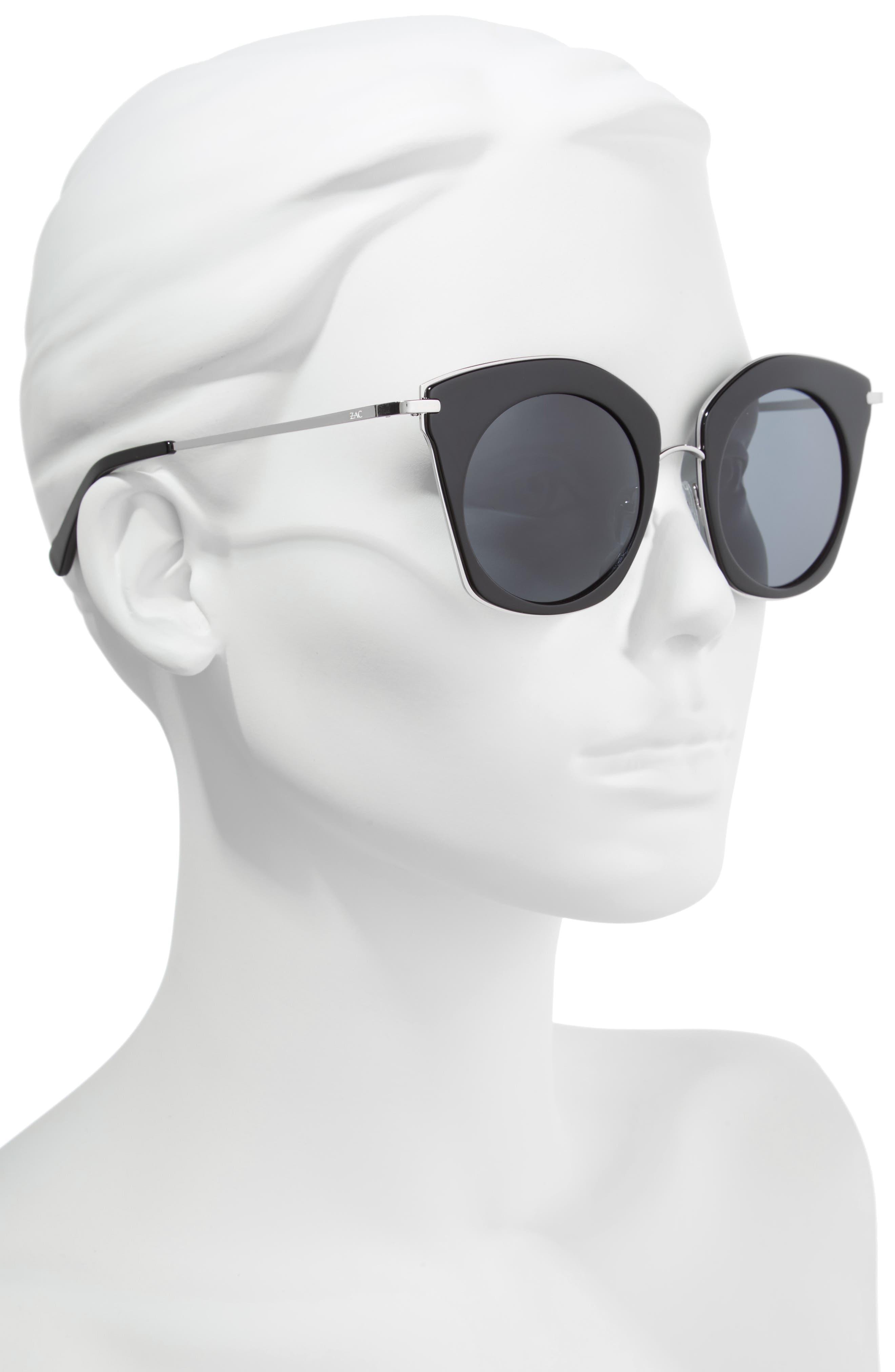 Benita 52mm Polarized Sunglasses,                             Alternate thumbnail 2, color,                             BLACK POLAR