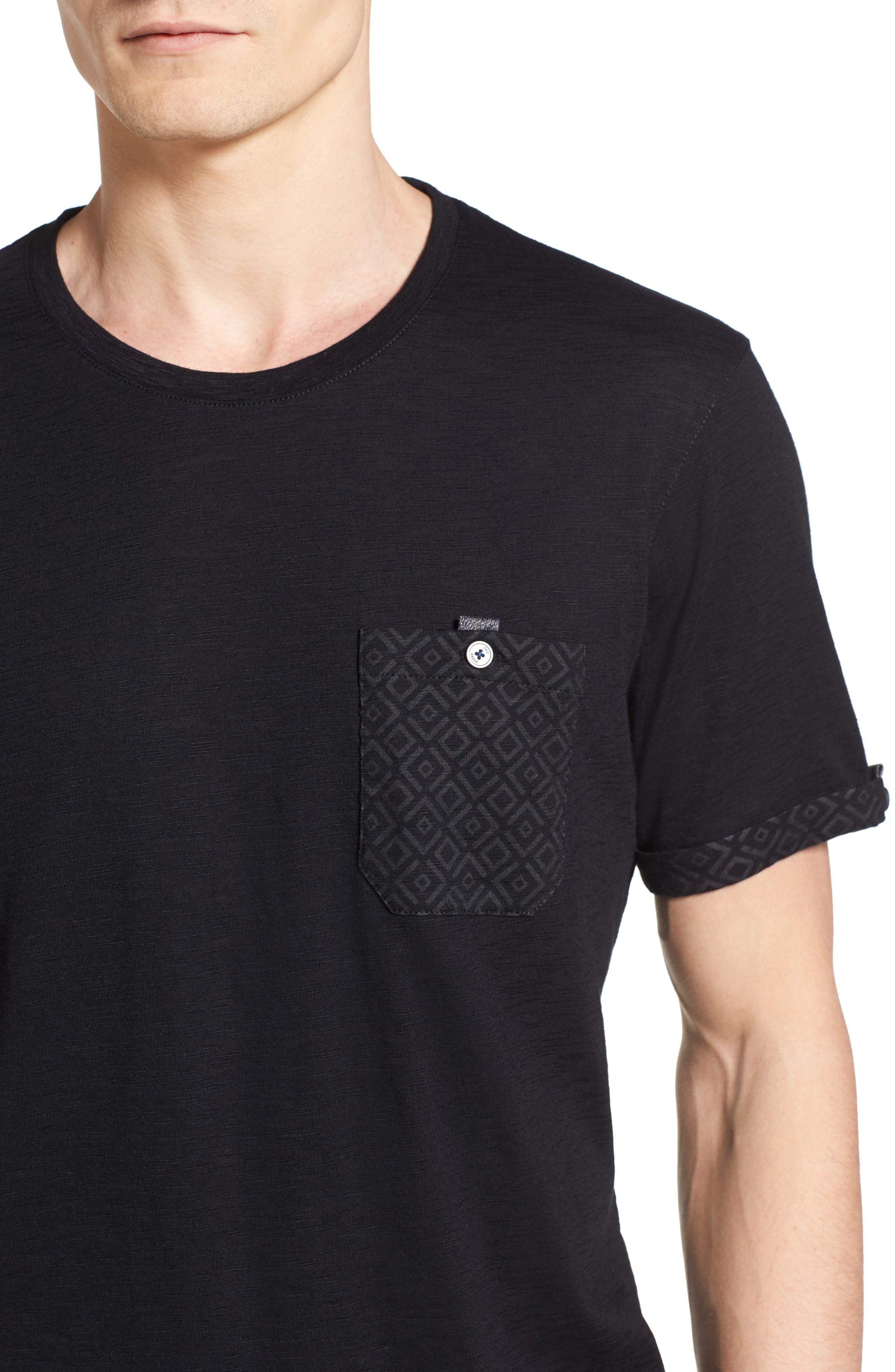 Apel Print Pocket T-Shirt,                             Alternate thumbnail 4, color,                             001