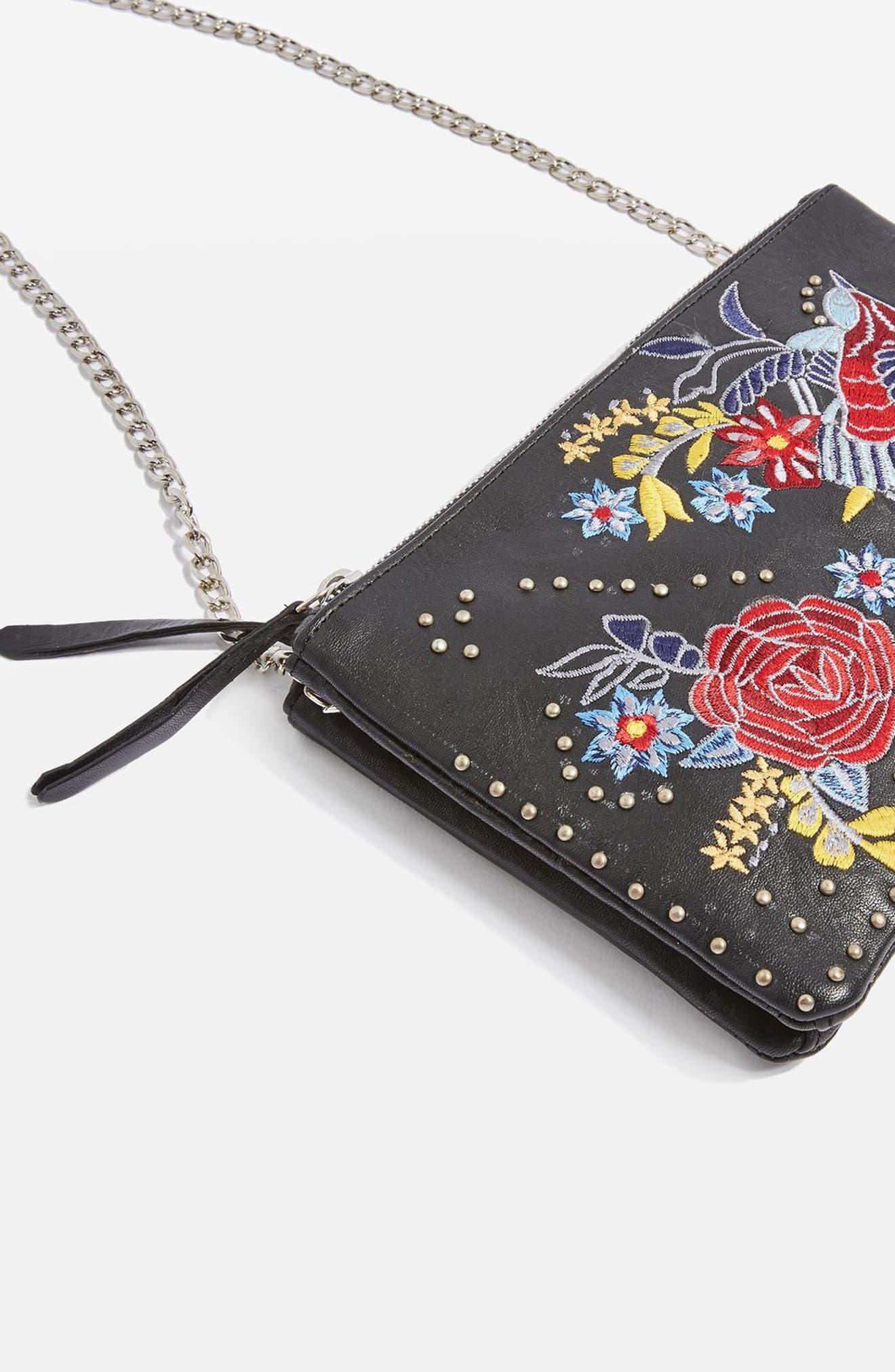 Ester Embroidered Leather Shoulder Bag,                             Alternate thumbnail 4, color,                             001
