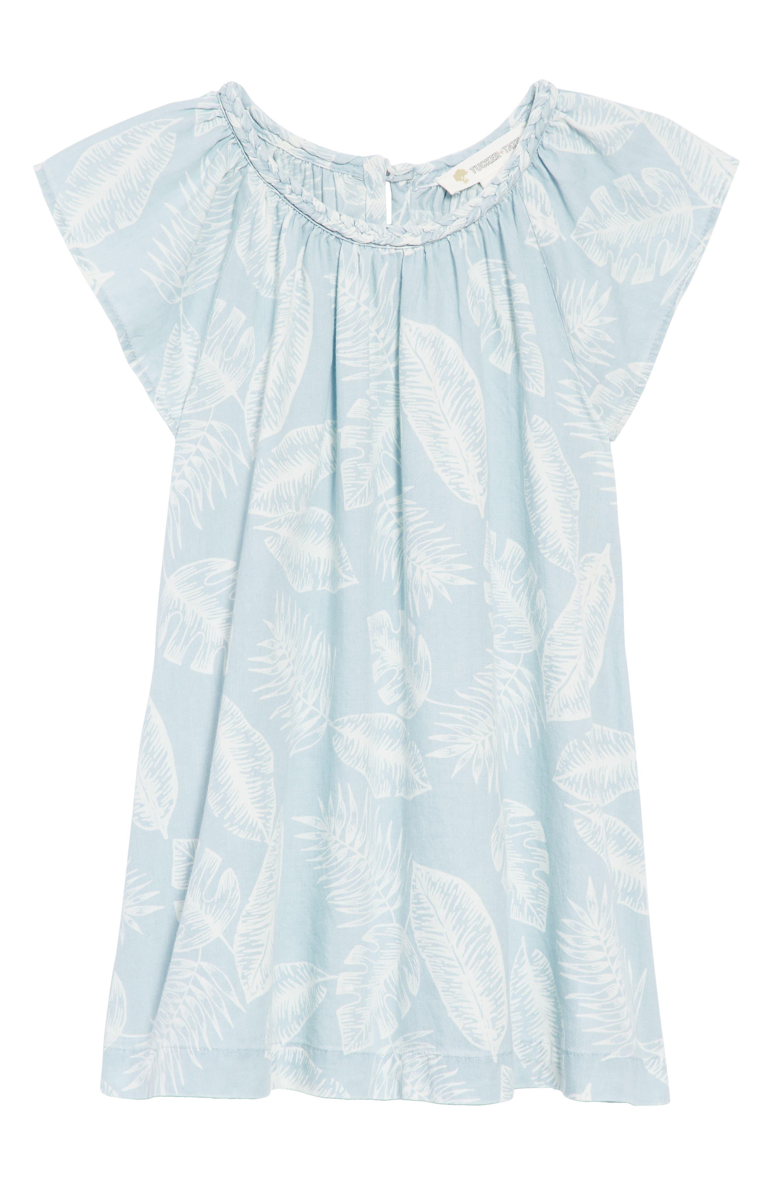 Palm Leaf Chambray Dress,                             Main thumbnail 1, color,                             420