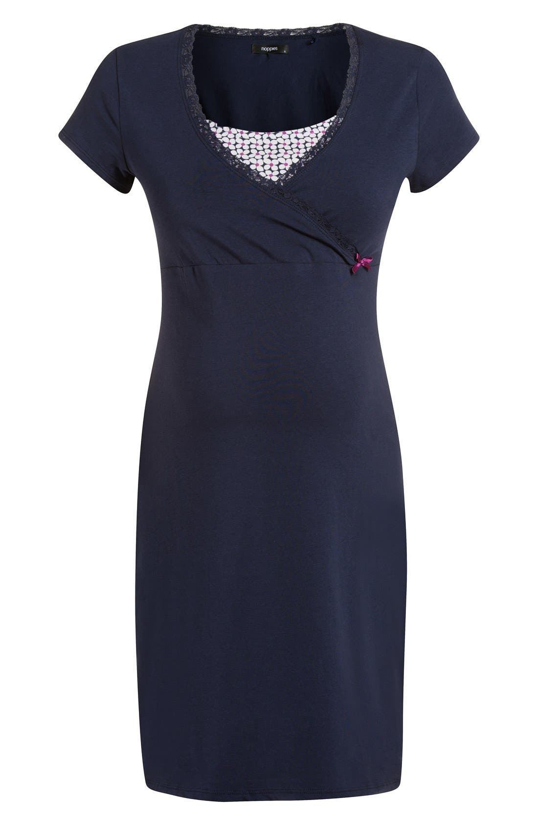 'Marni' Maternity/Nursing Jersey Dress,                             Main thumbnail 1, color,                             NAVY