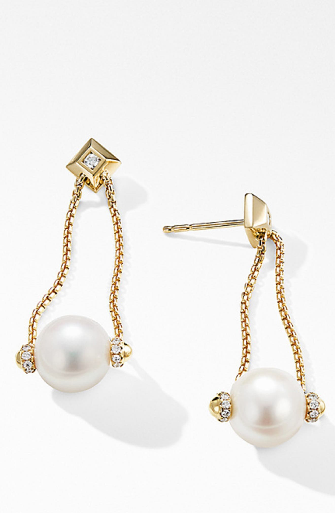 Solari Pearl Drop Earrings with Diamonds in 18K Yellow Gold,                             Alternate thumbnail 2, color,                             PEARL