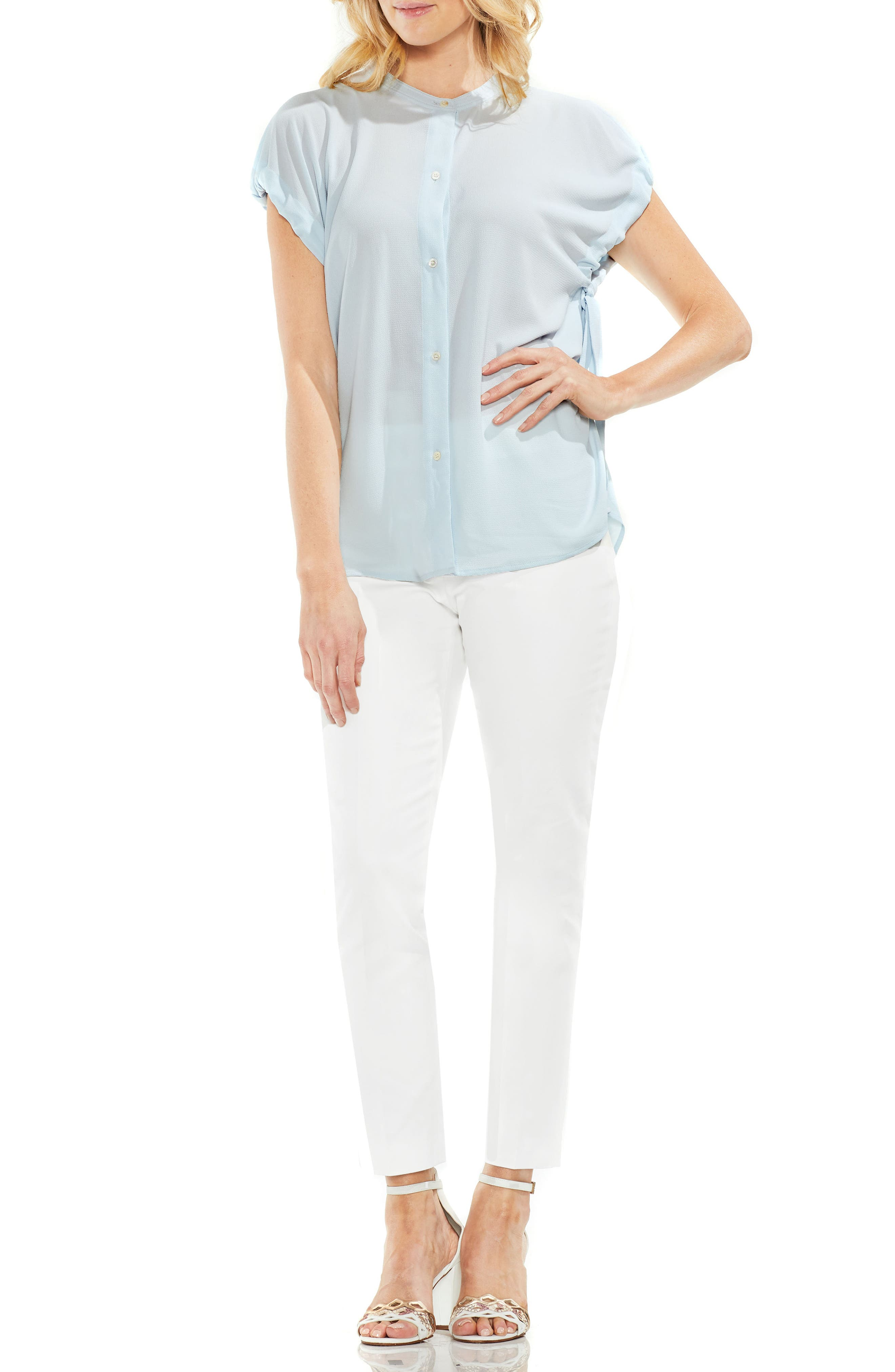 Tie Sleeve Crepe Blouse,                             Alternate thumbnail 7, color,                             466