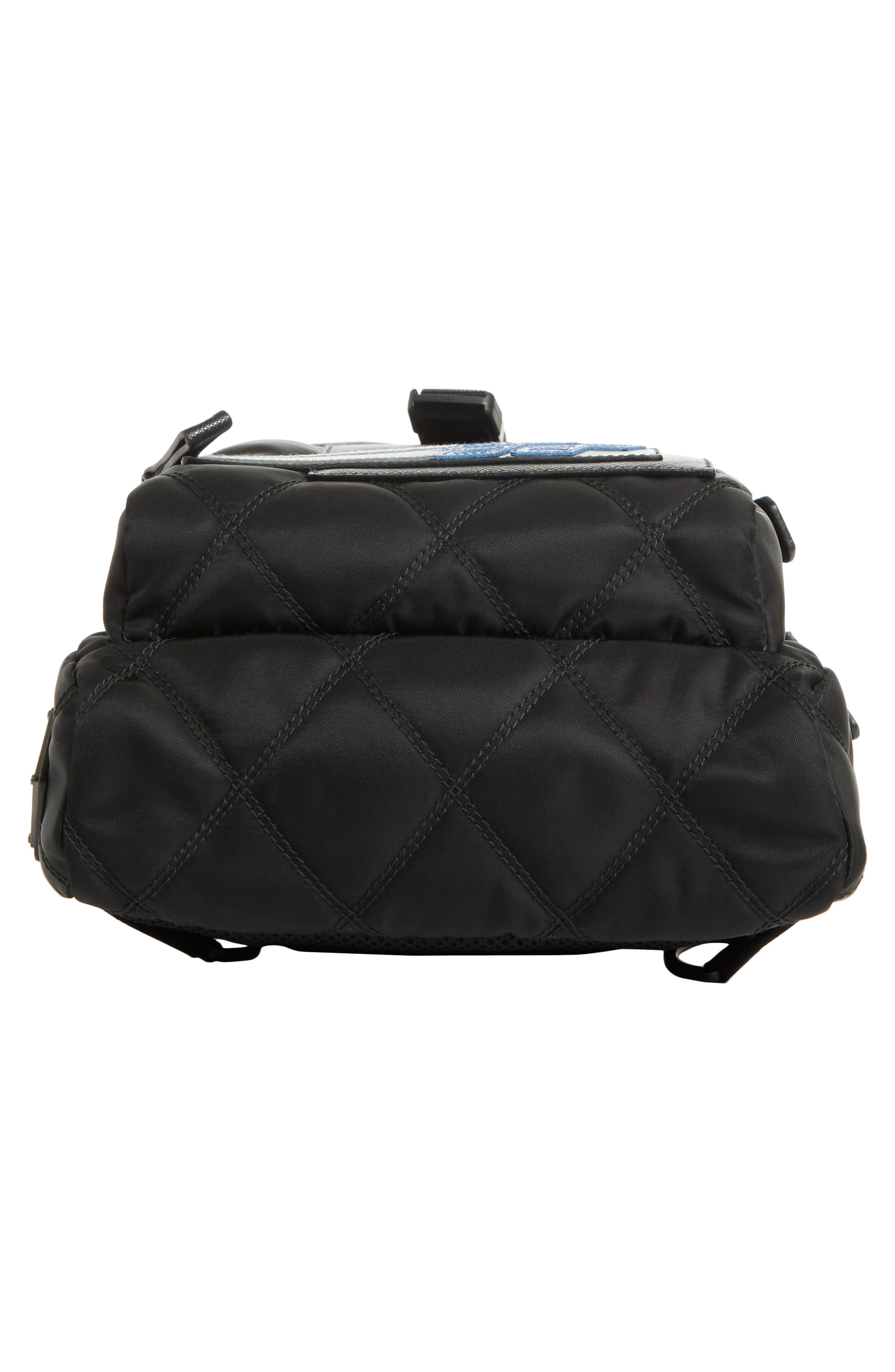 Quilted Crossbody Nylon Backpack,                             Alternate thumbnail 6, color,                             001